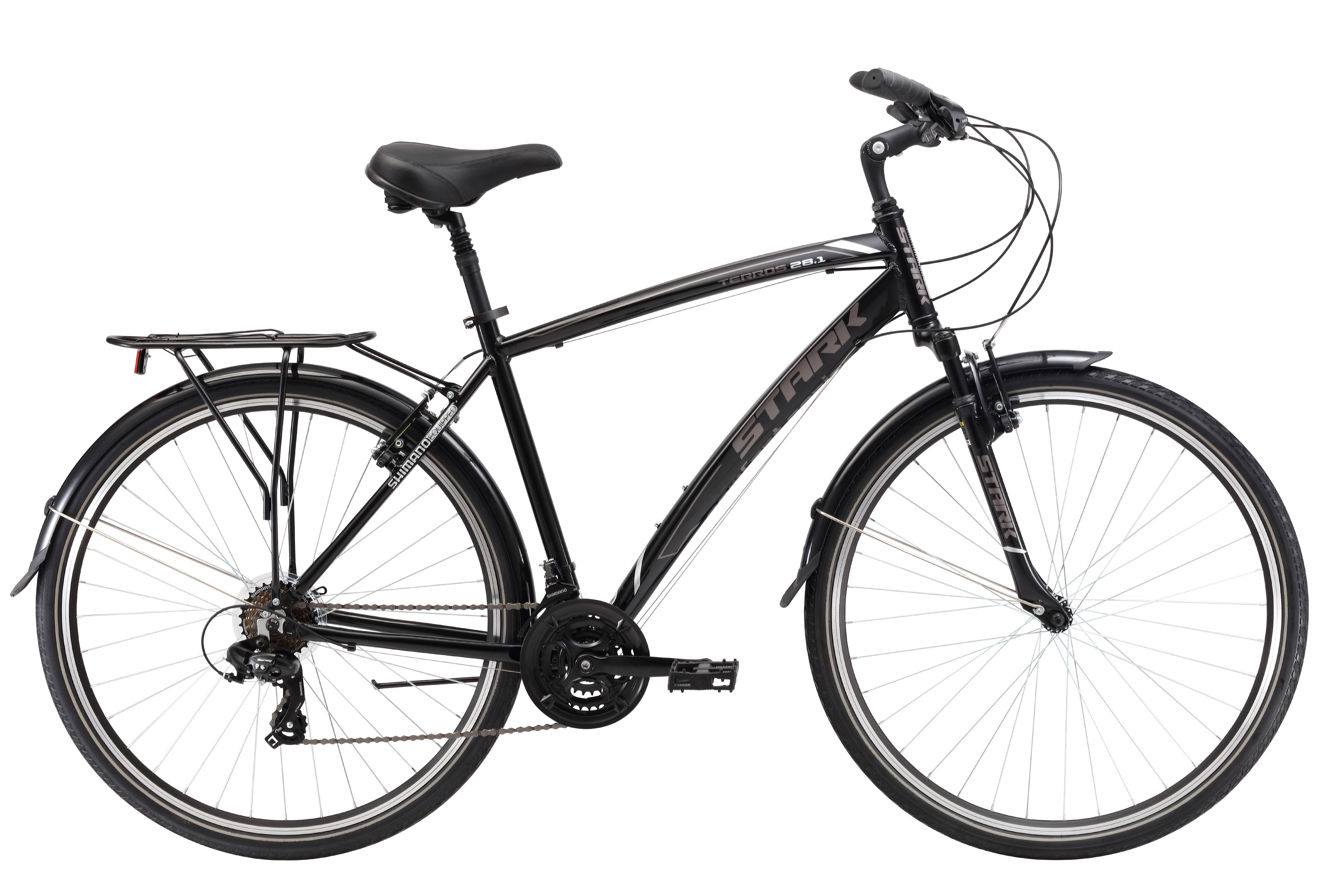 Велосипед Stark Terros 28.1 V (2017) черно-серый 18КОМФОРТНАЯ ПОСАДКА<br>Надёжный и стильный велосипед Stark Terros 28.1 V приятно удивит вас своей ценой и качеством. Данная модель прекрасно справится как с прогулками по городу, так и с катанием по просёлочным дорогам. Рама велосипеда имеет малый вес, так как сделана из прочного алюминиевого сплава. Амортизационный подседельный штырь и передняя амортизационная вилка позволят с комфортом преодолевать неровности дороги. Данная модель велосипеда оборудована трансмиссией имеющей 21 скорость, переключение передач осуществляется навесным оборудованием известного бренда SHIMANO. Велосипед оснащён надёжными ободными тормозами V-brake и прочными ободами Alloy double wall с двойной стенкой.<br><br>бренд: STARK<br>год: 2017<br>рама: Алюминий (Alloy)<br>вилка: Амортизационная (пружина)<br>блокировка амортизатора: Нет<br>диаметр колес: 700C<br>тормоза: Ободные (V-brake)<br>уровень оборудования: Начальный<br>количество скоростей: 21<br>Цвет: черно-серый<br>Размер: 18