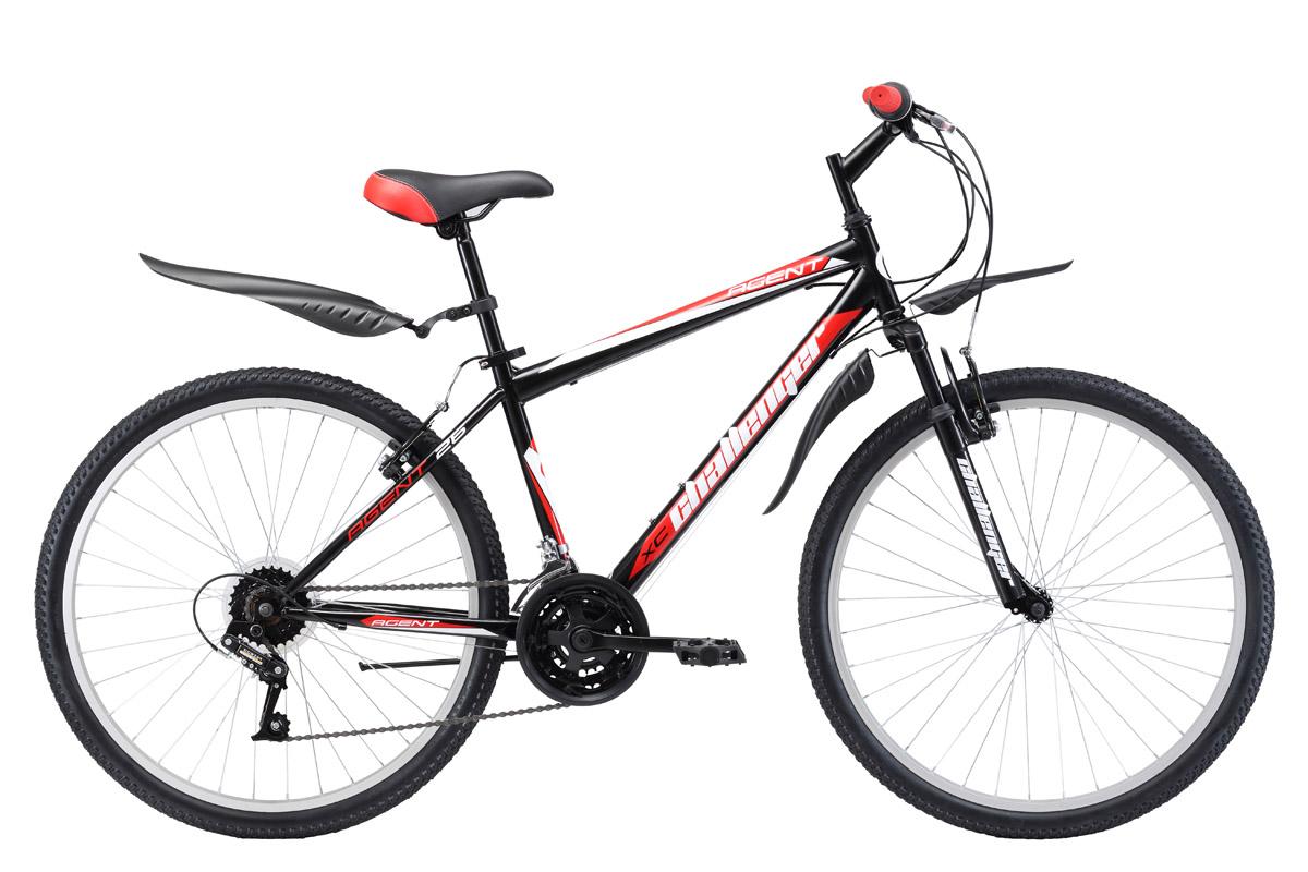 Велосипед Challenger Agent 26 (2017) черно-красный 18КОЛЕСА 26 (СТАНДАРТ)<br>Велосипед Challenger Agent 26 - классический горный велосипед на стальной раме, который отлично подходит для прогулочного катания. Велосипед оборудован передней амортизационной вилкой и ободными тормозами типа V-brake. Трансмиссия велосипеда имеет 18 скоростей. Выбор необходимой передачи обеспечивают переключатели системы RevoShift. 26 дюймовые колёса, на усиленных ободах, крепятся в вилке эксцентриком. Такой тип крепления позволяет быстро снять колесо при погрузке в автомобиль. Седло так же имеет эксцентрик для быстрой регулировки высоты. Горный велосипед Challenger Agent 26 укомплектован пластиковыми крыльями и подножкой. При желании, вы можете выбрать модификацию велосипеда ChallengerAgent с механическим дисковым тормозом - Challenger Agent 26 D.<br><br>бренд: CHALLENGER<br>год: 2017<br>рама: Сталь (Hi-Ten)<br>вилка: Амортизационная (пружина)<br>блокировка амортизатора: Нет<br>диаметр колес: 26<br>тормоза: Ободные (V-brake)<br>уровень оборудования: Начальный<br>количество скоростей: 18<br>Цвет: черно-красный<br>Размер: 18