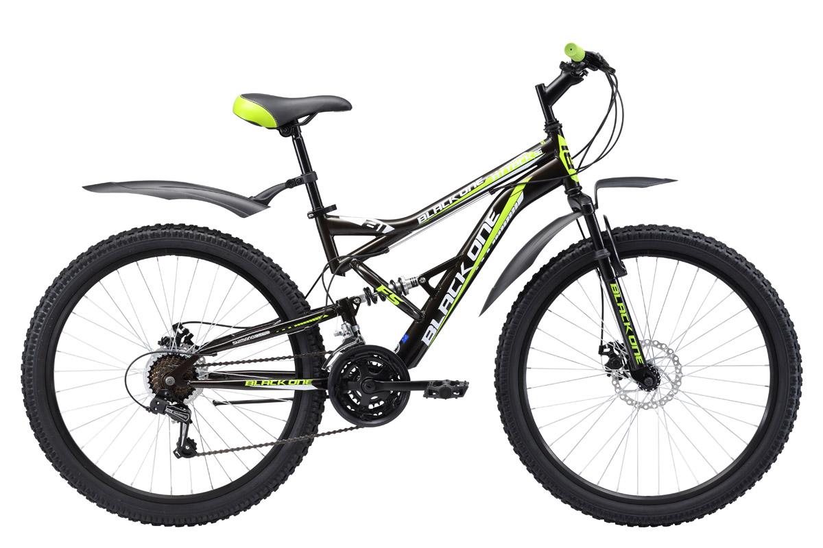 Велосипед Black One Attack FS 26 D (2017) черно-зеленый 16