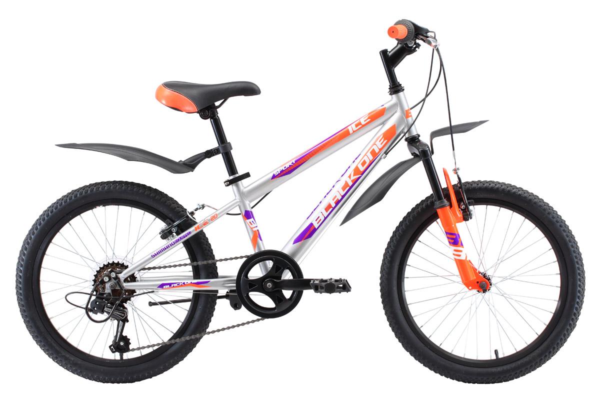 Велосипед Black One ICE 20 2018 серебристый-оранжевый-фиолетовый one size