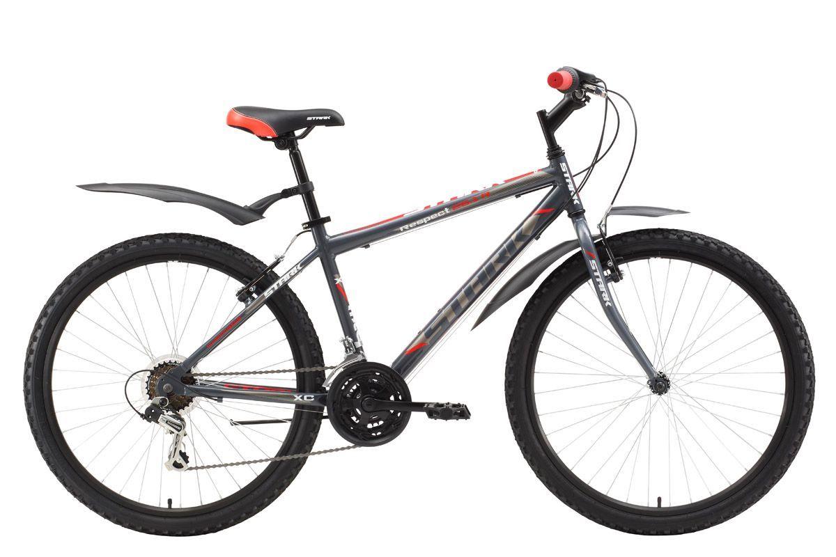 Велосипед Stark Respect 26.1 RV (2017) серо-красный 20КОЛЕСА 26 (СТАНДАРТ)<br>Отличный горный велосипед по низкой цене. Прекрасно подходит для прогулок в городских парках. Как и все модели Respect, этот велосипед оборудован лёгкой алюминиевой рамой, комфортными переключателями передач SHIMANO и имеет трансмиссию на 18 скоростей. Главным отличием этой модели является передняя жёсткая вилка, которая дает более легкий накат по ровной поверхности и имеет меньший вес. Велосипед оснащён эффективными ободными тормозами типа V-brake. Модель 2017 года имеет регулируемый вынос, который позволяет настраивать высоту и угол наклона руля. Если перед вами не стоит задача ездить по пересечённой местности, горный велосипед с жёсткой передней вилкой, будет отличным выбором.<br><br>бренд: STARK<br>год: 2017<br>рама: Алюминий (Alloy)<br>вилка: Жесткая (сталь)<br>блокировка амортизатора: Нет<br>диаметр колес: 26<br>тормоза: Ободные (V-brake)<br>уровень оборудования: Начальный<br>количество скоростей: 18<br>Цвет: серо-красный<br>Размер: 20