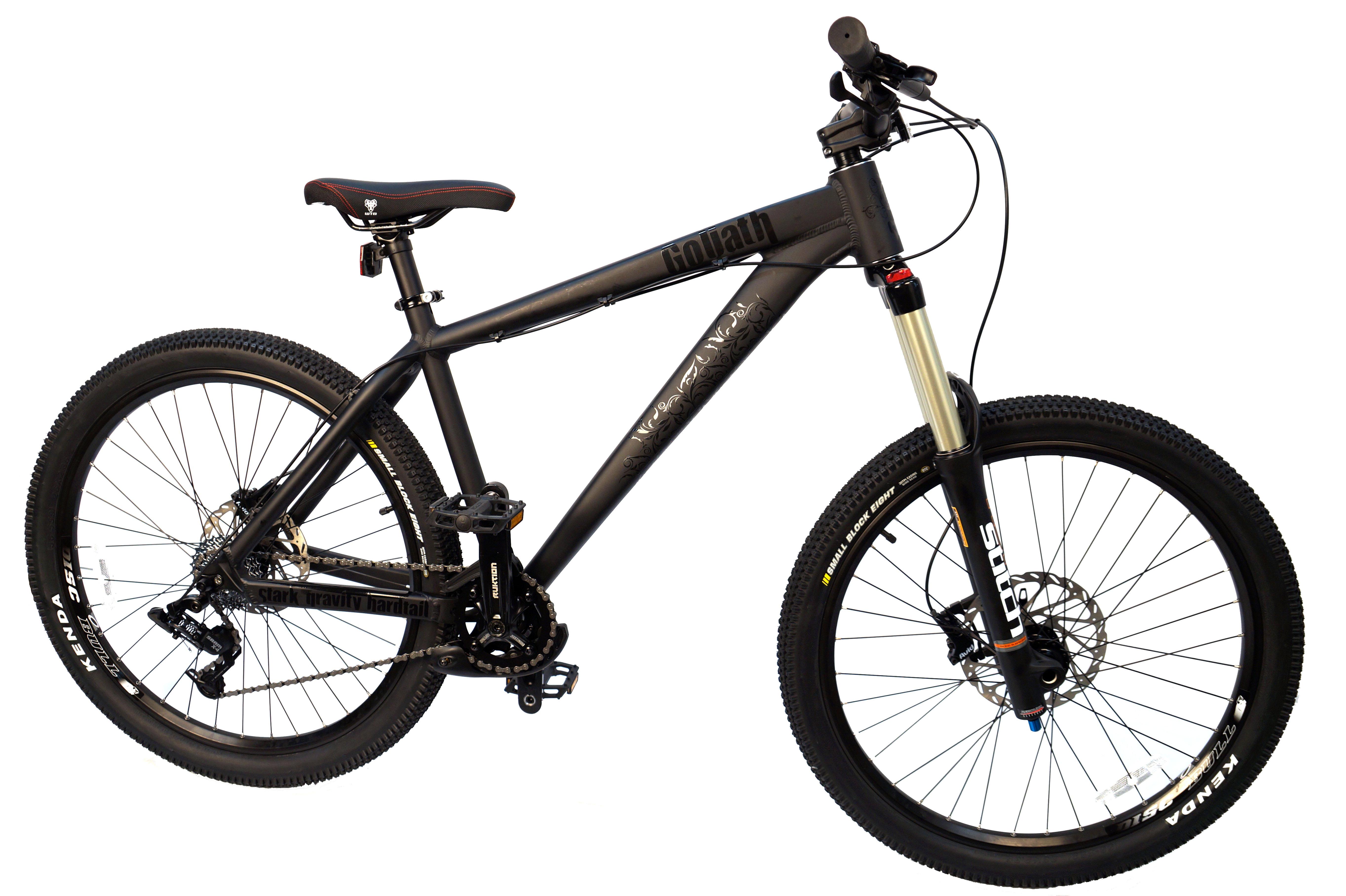 Велосипед Stark Goliath (2017) черный 17СТРИТ / ДЕРТ<br>StarkGoliath - крепкий и надёжный горный велосипед, разработанный для экстремального катания. Велосипед заточен под freeride или all-mountain . Толстые трубы переменного сечения, из которых изготовлена рама и перья задней вилки, обеспечивают высокую прочность конструкции. Геометрия рамы, может показаться, несколько высокой для гравити и экстрима, но за счёт этой особенности, вам будет удобно подниматься в гору после скоростного спуска. Амортизационная вилка RST STITCH, с ходом 160мм, отлично подходит для all-mountain и freeride. Трансмиссия велосипеда имеет 8 скоростей - их работу обеспечивает надёжное оборудование SRAM X4. Прочная система шатунов Truvativ Ruktion 1.0, хорошо зарекомендовавших себя в freeride, установлена в каретке с выносными подшипниками. Успокоитель цепи, установленный на данной модели, превосходно справляется со своей задачей в любых условиях. Надёжные гидравлические тормоза Avid DB3, с роторами 200мм, безупречно функционируют в любых погодных условиях и смогут моментально остановить велосипед даже на экстремальных фрирайд трассах. Колёса экстремального велосипеда собраны на ободах Weinmann DiscBull, чей профиль хорошо держит продольные удары, а большая ширина обода обеспечивает стойкость к скручиванию от боковых нагрузок. Передняя втулка имеет 20мм ось, а задняя втулка 10мм ось. Высокие покрышки Kenda с высоким, зубастым протектором уверенно проходят самые сумасшедшие спуски.<br><br>бренд: STARK<br>год: 2017<br>рама: Алюминий (Alloy)<br>вилка: Амортизационная (пружина)<br>блокировка амортизатора: Нет<br>диаметр колес: 26<br>тормоза: Дисковые гидравлические<br>уровень оборудования: Продвинутый<br>количество скоростей: 8<br>Цвет: черный<br>Размер: 17