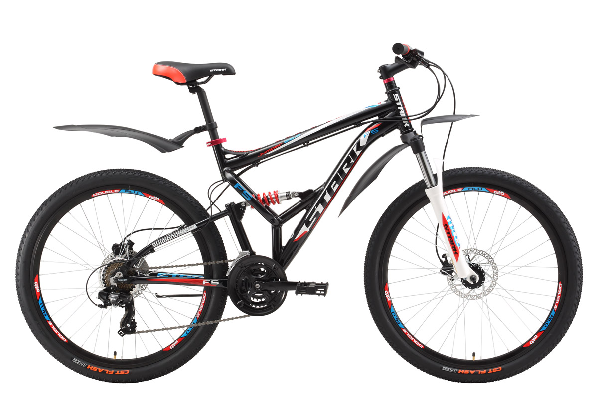 Велосипед Stark Jumper 26.2 FS HD (2017) черно-красный 18КОЛЕСА 26 (СТАНДАРТ)<br>Ищите надёжный и недорогой двухподвес с гидравлическими тормозами? Тогда Stark Jumper это именно то, что вам нужно. Велосипед оснащён облегчённой алюминиевой рамой, дисковыми гидравлическими тормозами и оборудованием SHIMANO. Трансмиссия велосипеда имеет 21 передачу, что позволяет подбирать оптимальный скоростной режим. Велосипед обладает хорошими ходовыми качествами, удобной посадкой, мягким и плавным ходом. В модели 2017 года установлена новая алюминиевая вилка с блокировкой и preload, который поможет настроить жёсткость. Помимо этого производитель добавил литой вынос без сварки, а также кольцо под вынос 10мм, благодаря этому конструкция стала прочнее, а руль может устанавливаться выше. Stark Jumper 26.2 FS HD прекрасно подойдёт для езды по различным типам дорог и пересечённой местности.<br><br>бренд: STARK<br>год: 2017<br>рама: Алюминий (Alloy)<br>вилка: Амортизационная (пружина)<br>блокировка амортизатора: Нет<br>диаметр колес: 26<br>тормоза: Дисковые гидравлические<br>уровень оборудования: Начальный<br>количество скоростей: 21<br>Цвет: черно-красный<br>Размер: 18