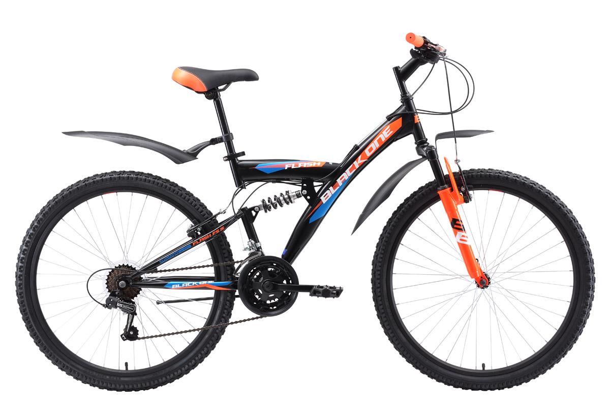 Велосипед Black One Flash FS 26 2018 чёрный-оранжевый-голубой 18 д