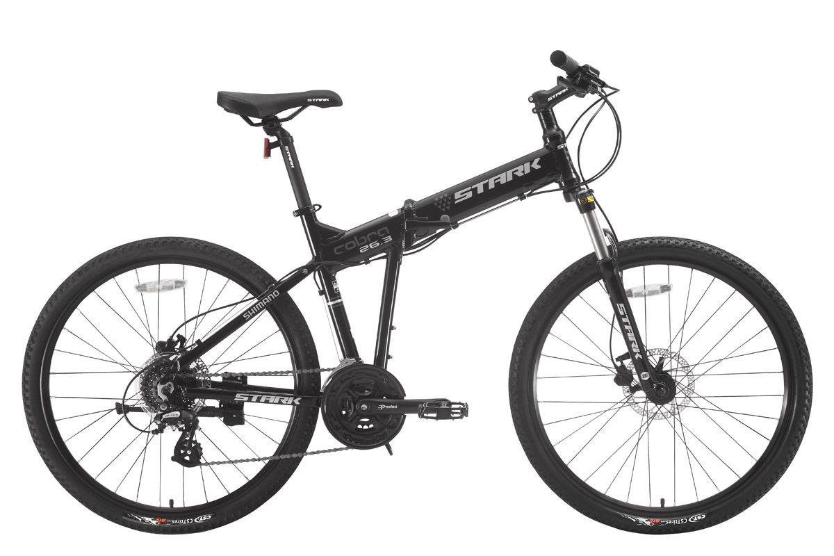 Велосипед Stark Cobra 26.3 HD (2017) черно-серый 17.5ГОРНЫЕ СКЛАДНЫЕ<br>Складной взрослый велосипед с полноразмерными колёсами 26 дюймов. Несмотря на свои компактные размеры в сложенном состоянии, эта модель является полноценным горным велосипедом. Данная модель оборудована алюминиевой рамой с интегрированной рулевой колонкой, мягкой передней вилкой и надёжными дисковыми тормозами с роторами 160мм. Трансмиссия велосипеда имеет 21 передачу и собрана на оборудовании SHIMANO.Так как в сложенном состоянии велосипед легко помещается в багажнике автомобиля, вам станут доступными даже самые дальние уголки природы.<br><br>бренд: STARK<br>год: 2017<br>рама: Алюминий (Alloy)<br>вилка: Амортизационная (пружина)<br>блокировка амортизатора: Да<br>диаметр колес: 26<br>тормоза: Дисковые гидравлические<br>уровень оборудования: Начальный<br>количество скоростей: 24<br>Цвет: черно-серый<br>Размер: 17.5