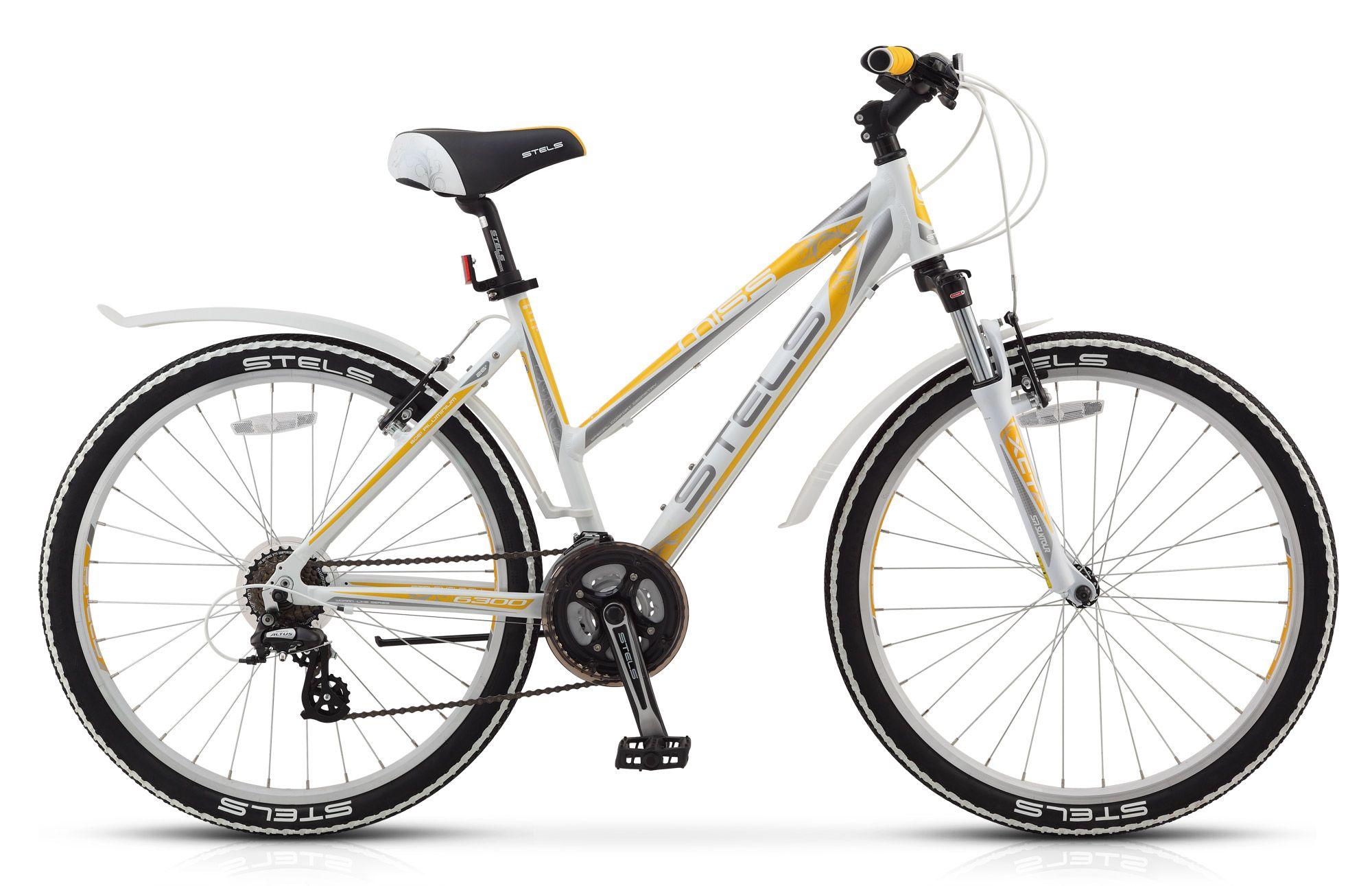 Велосипед Stels Miss 6300 V (2016) бело-серо-желтый 17.5СПОРТИВНЫЕ<br><br><br>бренд: STELS<br>год: Всесезонный<br>рама: Алюминий (Alloy)<br>вилка: Амортизационная (пружина)<br>блокировка амортизатора: Нет<br>диаметр колес: 26<br>тормоза: Ободные (V-brake)<br>уровень оборудования: Начальный<br>количество скоростей: 21<br>Цвет: бело-серо-желтый<br>Размер: 17.5