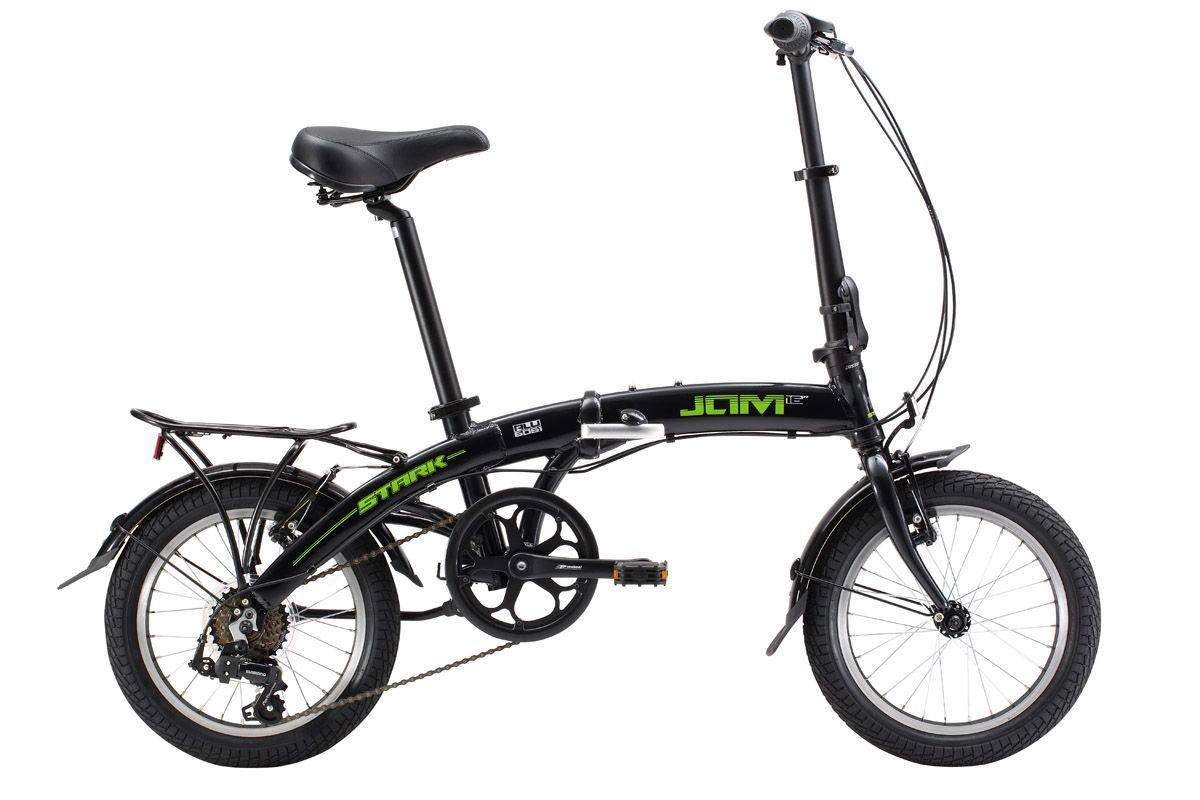 Велосипед Stark Jam 16.1 V (2017) черно-зеленый one sizeГОРОДСКИЕ СКЛАДНЫЕ<br>Если вы ищите компактный складной велосипед для взрослых, который удобно использовать в городе, на хорошем асфальте, то эта модель обязательно вас заинтересует. Главным отличием модели Stark Jam 16.1 V является маленький диаметр колёс, всего 16 дюймов, именно поэтому велосипед имеет минимальные размеры в сложенном состоянии. Складной велосипед Stark Jam 16.1 V оборудован шестью передачами, которые позволят вам уверенно перемещаться в городском ритме, а также оборудован эффективными ободными тормозами Promax. Маленький багажник поможет вам перевезти небольшой груз, полноценные крылья защитят от случайных брызг. В 2017 году производитель усовершенствовал модель, установив сквозной подседельный штырь, проходящий через кареточный узел и изменив геометрию выноса руля и механизмы складывания.<br><br>бренд: STARK<br>год: 2017<br>рама: Алюминий (Alloy)<br>вилка: Жесткая (сталь)<br>блокировка амортизатора: None<br>диаметр колес: 16<br>тормоза: Ободные (V-brake)<br>уровень оборудования: Начальный<br>количество скоростей: 6<br>Цвет: черно-зеленый<br>Размер: one size