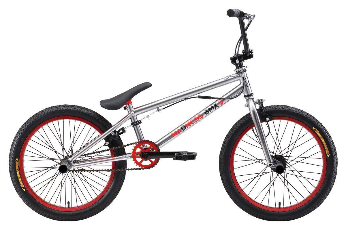 Велосипед Stark Madness BMX 3 (2017) серебристо-красный one sizeBMX<br>Этот велосипед подойдёт не только начинающим, но и настоящим любителям экстремальных видов катания. Главной особенностью этой модели, является наличие трёхкомпонентных шатунов, способных выдержать серьёзные нагрузки. Стальная рама, выполненная с применением современных технологий, обладает всеми необходимыми качествами: она имеет небольшой вес и хороший запас прочности. Все комплектующие велосипеда выполнены из качественных материалов и способны выдерживать даже самые жёсткие нагрузки. Данная модель укомплектована ротором и пегами, что позволит вам расширить вам диапазон трюков.<br><br>бренд: STARK<br>год: 2018<br>рама: Сталь (Hi-Ten)<br>вилка: Жесткая (сталь)<br>блокировка амортизатора: Нет<br>диаметр колес: 20<br>тормоза: Клещевые (U-brake)<br>уровень оборудования: Начальный<br>количество скоростей: 1<br>Цвет: серебристо-красный<br>Размер: one size