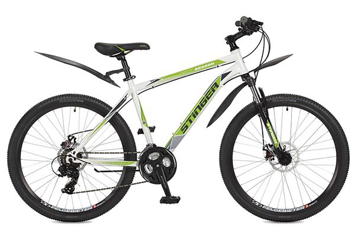 Велосипед Stinger Aragon 26 (2016) красный 18КОЛЕСА 26 (СТАНДАРТ)<br>Горный велосипед Stinger Aragon 26, на стальной раме, отлично подходит для прогулок на природе. Велосипед оснащён передней амортизационной вилкой и надёжными дисковыми тормозами. Трансмиссия велосипеда имеет 21 скорость, что позволяет подобрать ту нагрузку, которая необходима. Система переключения передач, установленная на данной модели, представлена известным брендом Shimano. Колёса велосипеда, диаметром 26 дюймов, имеют двойные алюминиевые обода, устойчивые к деформации.<br><br>бренд: STINGER<br>год: 2017<br>рама: Сталь (Hi-Ten)<br>вилка: Амортизационная (пружина)<br>блокировка амортизатора: Нет<br>диаметр колес: 26<br>тормоза: Дисковые механические<br>уровень оборудования: Начальный<br>количество скоростей: 21<br>Цвет: красный<br>Размер: 18