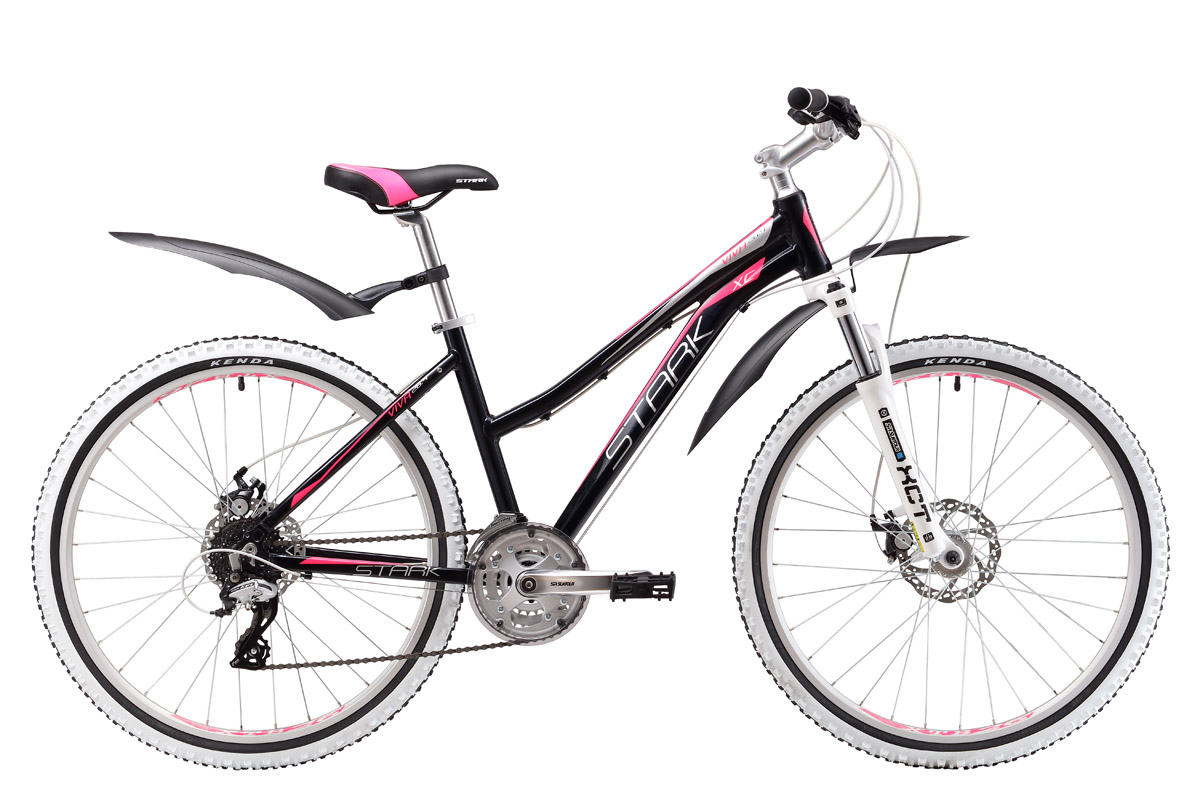 Велосипед Stark Viva 26.4 D (2017) черно-розовый 18СПОРТИВНЫЕ<br>Женский велосипед Stark Viva создан для приятных прогулок по лесным тропинкам и активного катания в стиле кросс-кантри. Рама велосипеда изготовлена из легкого и прочного алюминиевого сплава и имеет специальную заниженную геометрию. Передняя амортизационная вилка снимает часть нагрузки с рук. Данная модель оборудована надёжными дисковыми тормозами Promax, устойчивыми к различным погодным условиям. Трансмиссия велосипеда имеет 24 передачи, что позволяет более точно подбирать нагрузку. Женский велосипед Stark Viva подарит море радости своей обладательнице!<br><br>бренд: STARK<br>год: 2017<br>рама: Алюминий (Alloy)<br>вилка: Амортизационная (пружина)<br>блокировка амортизатора: Нет<br>диаметр колес: 26<br>тормоза: Дисковые механические<br>уровень оборудования: Любительский<br>количество скоростей: 24<br>Цвет: черно-розовый<br>Размер: 18