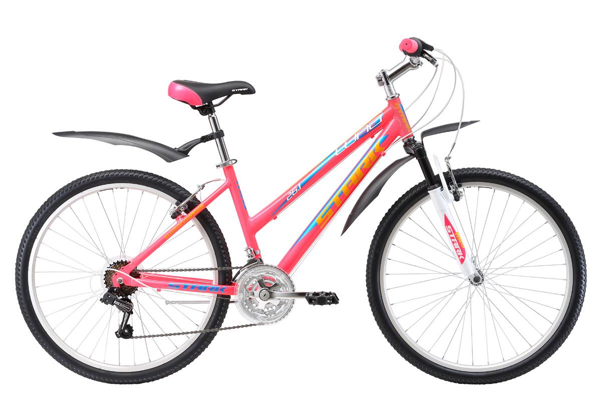 Велосипед Stark Luna 26.1 V (2017) розово-желтый 14.5СПОРТИВНЫЕ<br>Недорогой женский велосипед Stark Luna идеально подойдёт для прогулок по городским улочкам и в парке. Лёгкая алюминиевая рама, удобное сиденье и мягкая амортизационная вилка сделают вашу поездку ещё приятнее. В комплект велосипеда входят крылья, подножка и педали. Тормозная система - ободные тормоза типа V-brake. В 2017 году модель велосипеда была усовершенствована, теперь велосипед имеет трансмиссию на 21 скорость, вместо прежних 18, что позволит вам более точно подобрать нагрузку. Помимо этого производитель установил триггерные монетки, которые более практичны и удобны.<br><br>бренд: STARK<br>год: 2017<br>рама: Алюминий (Alloy)<br>вилка: Амортизационная (пружина)<br>блокировка амортизатора: Нет<br>диаметр колес: 26<br>тормоза: Ободные (V-brake)<br>уровень оборудования: Начальный<br>количество скоростей: 18<br>Цвет: розово-желтый<br>Размер: 14.5