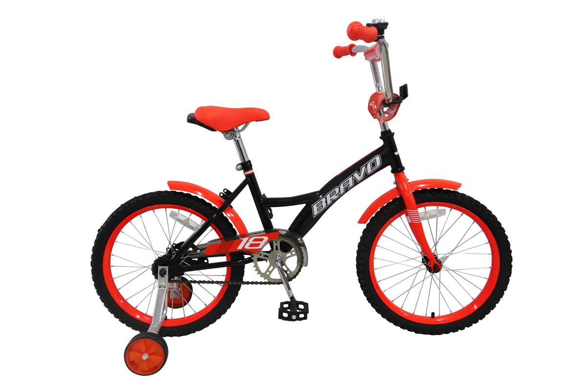 Велосипед Bravo 18 Boy (2017) черно-красный one sizeОТ 3 ДО 6 ЛЕТ (16-18 ДЮЙМОВ)<br><br><br>бренд: BRAVO<br>год: 2017<br>рама: Сталь (Hi-Ten)<br>вилка: Жесткая (сталь)<br>блокировка амортизатора: Нет<br>диаметр колес: 18<br>тормоза: Ножной ( Coaster brake)<br>уровень оборудования: Начальный<br>количество скоростей: 1<br>Цвет: черно-красный<br>Размер: one size