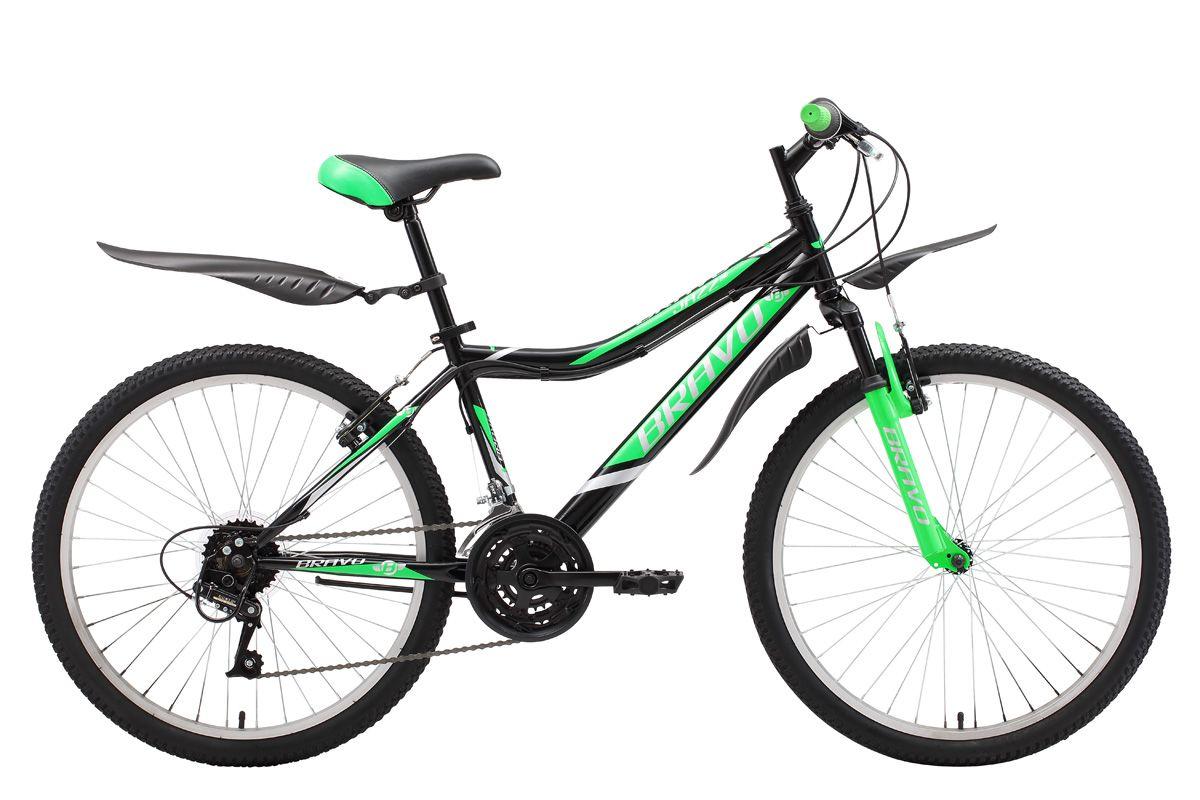 Велосипед Bravo Jazz 24 2018 чёрный-зелёный-серый one size