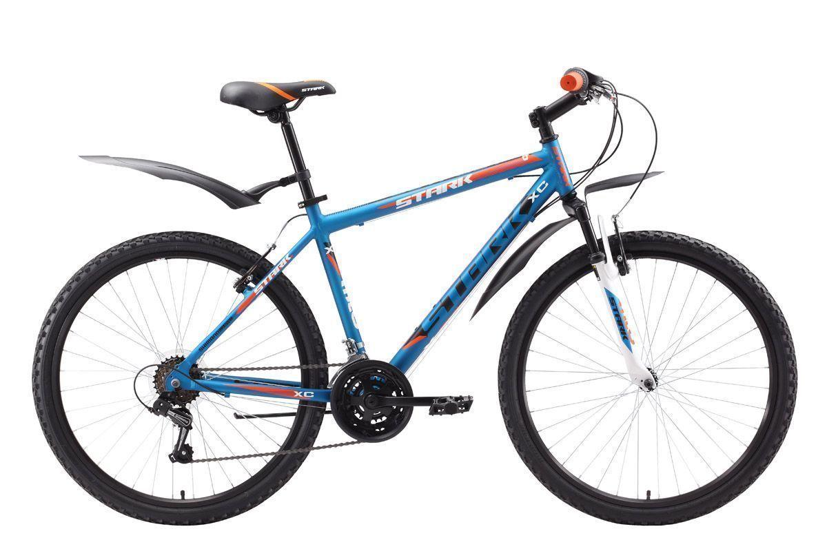 Велосипед Stark Outpost (2016) сине-оранжевый 18КОЛЕСА 26 (СТАНДАРТ)<br>Недорогой горный велосипед Stark Outpost станет вашим надёжным другом для велосипедных прогулок в парке и за городом. Создатели приложили максимум усилий, чтобы этот велосипед получился качественным и надёжным, оставаясь, при этом достаточно дешёвым велосипедом. Лёгкая алюминиевая рама, полу-интегрированная рулевая колонка, мягкое седло и широкие педали обеспечат удобство эксплуатации велосипеда А подножка и велосипедные крылья, входящие в комплект поставки, сделают велосипедные поездки комфортными. Велосипед Stark Outpost оснащён эффективными ободными тормозами типа V-brake, комфортными переключателями передач RevoShift (вращающееся вокруг руля кольцо) и передней амортизационной вилкой. Stark Outpost не подвергся изменениям и полностью соответствует модели 2015 года.<br><br>бренд: STARK<br>год: 2016<br>рама: Алюминий (Alloy)<br>вилка: Амортизационная (пружина)<br>блокировка амортизатора: Нет<br>диаметр колес: 26<br>тормоза: Ободные (V-brake)<br>уровень оборудования: Начальный<br>количество скоростей: 18<br>Цвет: сине-оранжевый<br>Размер: 18