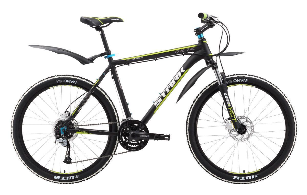 Велосипед Stark Tactic HD (2016) черно-зеленый 18КОЛЕСА 26 (СТАНДАРТ)<br>Обновлённая 27-скоростная трансмиссия велосипеда Stark Tactic HD открывает новые возможности для велосипедиста. Ко всем преимуществам этой модели прибавились гидравлические тормоза Tektro HDC-300, которые отлично решают задачи торможения в любых условиях. А надёжное сцепление колёс с дорожным покрытием, обеспечит передняя вилка с плавной регулировкой жёсткости Suntour XCT 80 mm модификации 2016 года. Передний и задний переключатели Shimano ACERA чётко и быстро подбирают передачу. Необходимую степень комфорта добавят этому надёжному горному велосипеду широкие устойчивые педали, удобное седло и крылья, входящие в базовый комплект Stark Tactic HD.<br><br>бренд: STARK<br>год: 2016<br>рама: Алюминий (Alloy)<br>вилка: Амортизационная (пружина)<br>блокировка амортизатора: Нет<br>диаметр колес: 26<br>тормоза: Дисковые гидравлические<br>уровень оборудования: Любительский<br>количество скоростей: 27<br>Цвет: черно-зеленый<br>Размер: 18