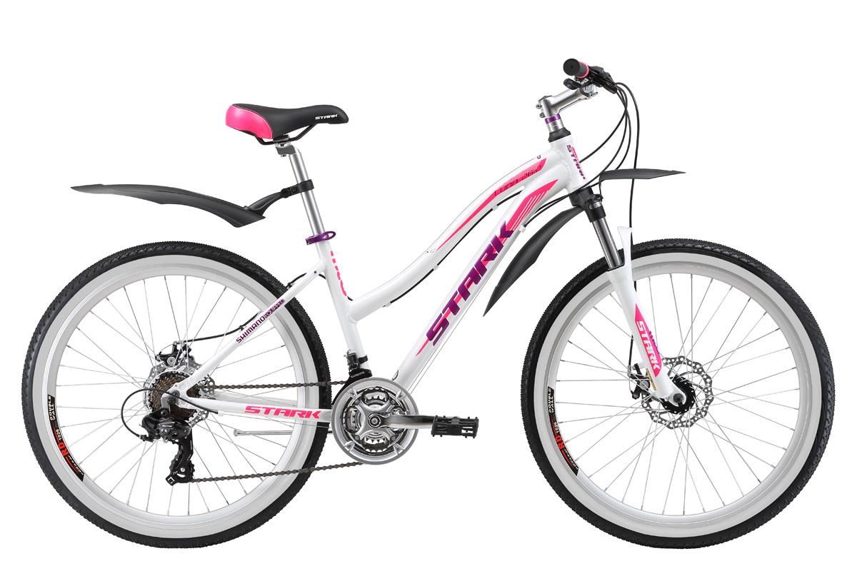 Велосипед Stark Luna 26.2 D (2017) бело-розовый 14.5СПОРТИВНЫЕ<br>Горный женский велосипед Stark Luna 26.2 D прекрасно подойдёт для езды в стиле кросс-кантри. Велосипед оборудован прочной и лёгкой алюминиевой рамой, сконструированной специально для женщин. Вилка, установленная на данной модели, имеет блокировку и preload , который поможет подобрать необходимую жёсткость. Данная модель имеет надёжные эффективные дисковые тормоза, оснащена 21 скоростной трансмиссией и качественным навесным оборудованием SHIMANO. 26-ти дюймовые колёса, на двойных алюминиевых ободах устойчивы к деформациям и отлично выдерживают нагрузки на любой дороге.<br><br>бренд: STARK<br>год: 2017<br>рама: Алюминий (Alloy)<br>вилка: Амортизационная (пружина)<br>блокировка амортизатора: Да<br>диаметр колес: 26<br>тормоза: Дисковые механические<br>уровень оборудования: Начальный<br>количество скоростей: 21<br>Цвет: бело-розовый<br>Размер: 14.5