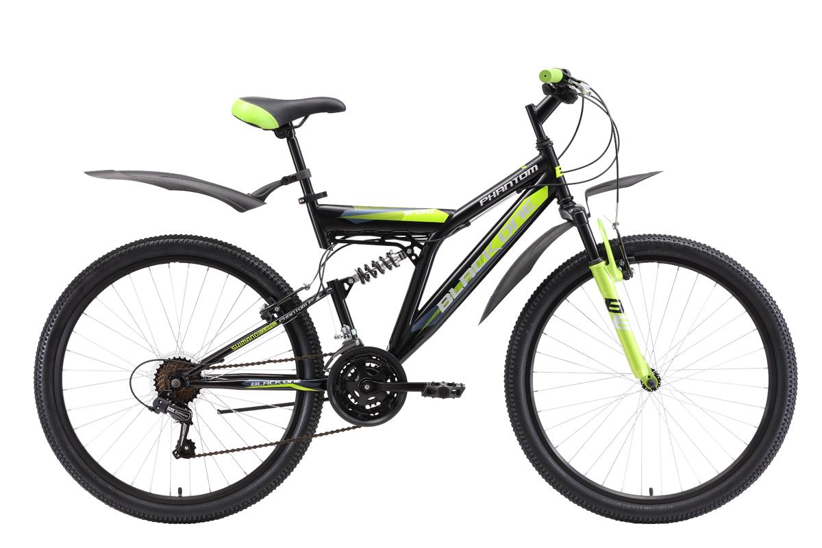 Велосипед Black One Phantom FS 26 2018 чёрный-красный-белый 20 д