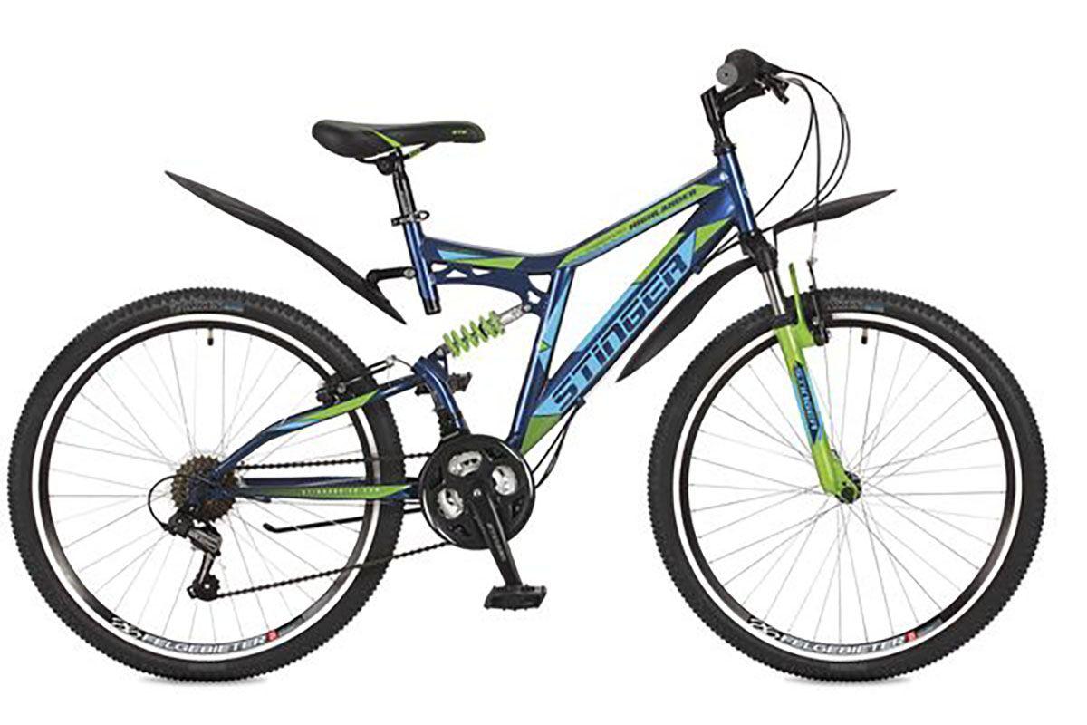 Велосипед Stinger Highlander 100V 26 (2016) синий 18КОЛЕСА 26 (СТАНДАРТ)<br>Велосипед Stinger Highlander 100V 26 – надёжный и недорогой двухподвес на стальной раме. Такой тип велосипеда отлично подходит для езды по ухабистым дорогам, так как имеет амортизацию переднего и заднего колеса. Ободные тормоза, установленные на данной модели, эффективны и просты в эксплуатации.18 скоростная трансмиссия позволяет подобрать оптимальную нагрузку. 26 дюймовые колёса, на двойных алюминиевых ободах устойчивы к деформациям. Велосипед Stinger Highlander 100V 26 имеет сбалансированную конструкция и привлекательный внешний вид.<br><br>бренд: STINGER<br>год: 2017<br>рама: Сталь (Hi-Ten)<br>вилка: Амортизационная (пружина)<br>блокировка амортизатора: Нет<br>диаметр колес: 26<br>тормоза: Ободные (V-brake)<br>уровень оборудования: Начальный<br>количество скоростей: 18<br>Цвет: синий<br>Размер: 18
