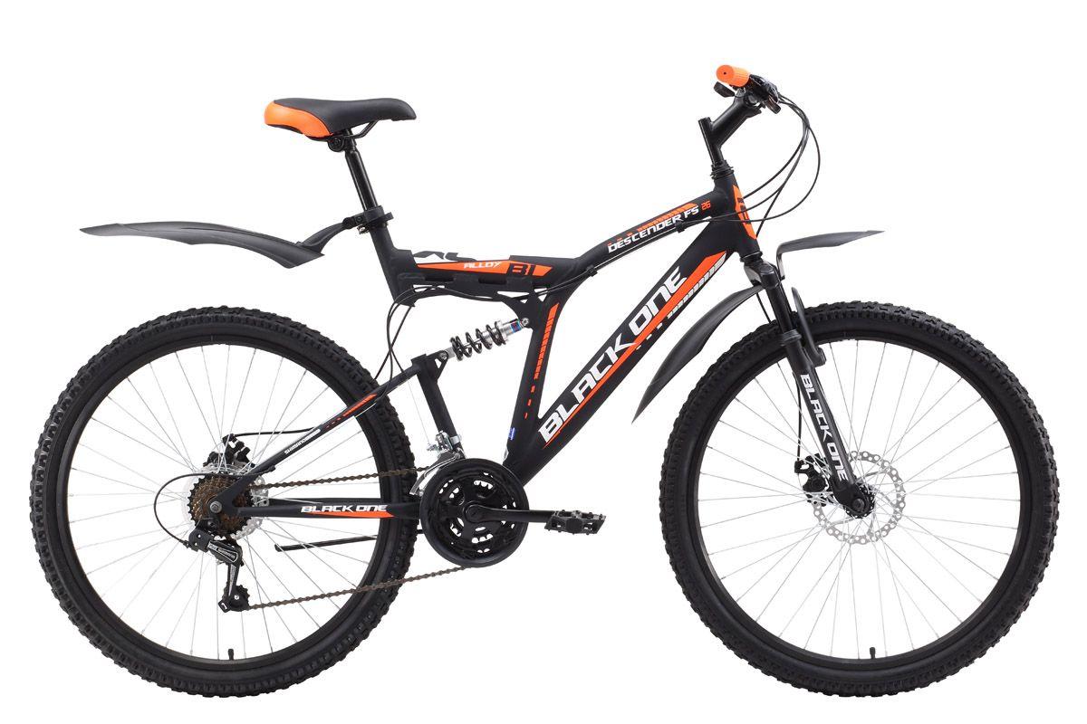 Велосипед Black One Descender FS 26 D (2017) черно-оранжевый 16КОЛЕСА 26 (СТАНДАРТ)<br>Двухподвес Black One Descender FS 26 Alloy D, собранный на алюминиевой раме, имеет малый вес и хорошую манёвренность. Велосипед оснащён надёжным дисковым тормозом, который эффективно работает даже в тяжёлых дорожных условиях. 26 дюймовые колёса, на двойных алюминиевых ободах, устойчивы к «восьмёркам» и эллипсу. Модель 2017 года оборудована 21 скоростью и курковыми переключателями. Велосипед оборудован пластиковыми крыльями и подножкой. Двухподвес Black One Descender FS 26 Alloy D отлично подходит для прогулок выходного дня.<br><br>бренд: BLACK ONE<br>год: 2017<br>рама: Алюминий (Alloy)<br>вилка: Амортизационная (пружина)<br>блокировка амортизатора: Нет<br>диаметр колес: 26<br>тормоза: Дисковые механические<br>уровень оборудования: Начальный<br>количество скоростей: 18<br>Цвет: черно-оранжевый<br>Размер: 16