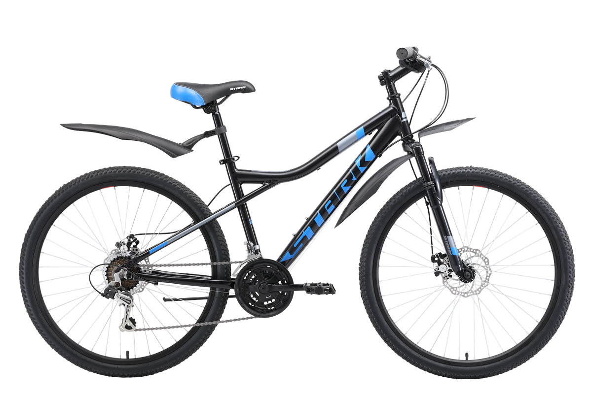 Велосипед Stark Slash 26.1 D 2019 чёрный-синий-серый 18 д