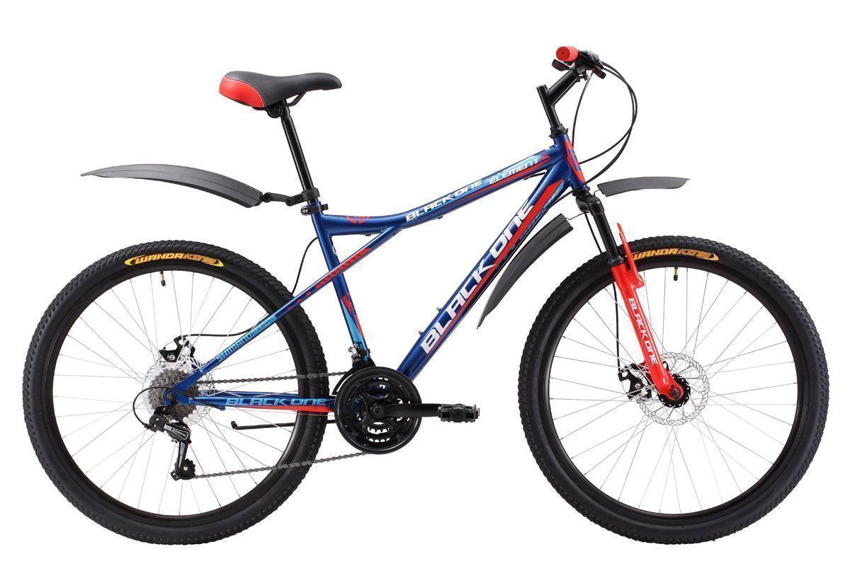 Велосипед Black One Element 26 D (2017) сине-красный 16КОЛЕСА 26 (СТАНДАРТ)<br>Горный велосипед Black One Element 26 D имеет интересную геометрию рамы, которая позволяет использовать велосипед нескольким людям с большой разницей в росте. Достигается это за счет заниженной верхней трубы. Специальная конструкция задней вилки делает подвеску более мягкой. Велосипед оснащён дисковыми тормозами, эффективными даже на скользкой и грязной дороге. Модель 2017 года имеет 21 скорость и оборудована курковыми переключателями. Для большего комфорта во время прогулок велосипед укомплектован подножкой и пластиковыми крыльями. Горный велосипед Black One Element 26 D – отлично подходит для прогулочного катания и имеет оптимальное соотношение цены и технических характеристик.<br><br>бренд: BLACK ONE<br>год: 2017<br>рама: Сталь (Hi-Ten)<br>вилка: Амортизационная (пружина)<br>блокировка амортизатора: Нет<br>диаметр колес: 26<br>тормоза: Дисковые механические<br>уровень оборудования: Начальный<br>количество скоростей: 21<br>Цвет: сине-красный<br>Размер: 16