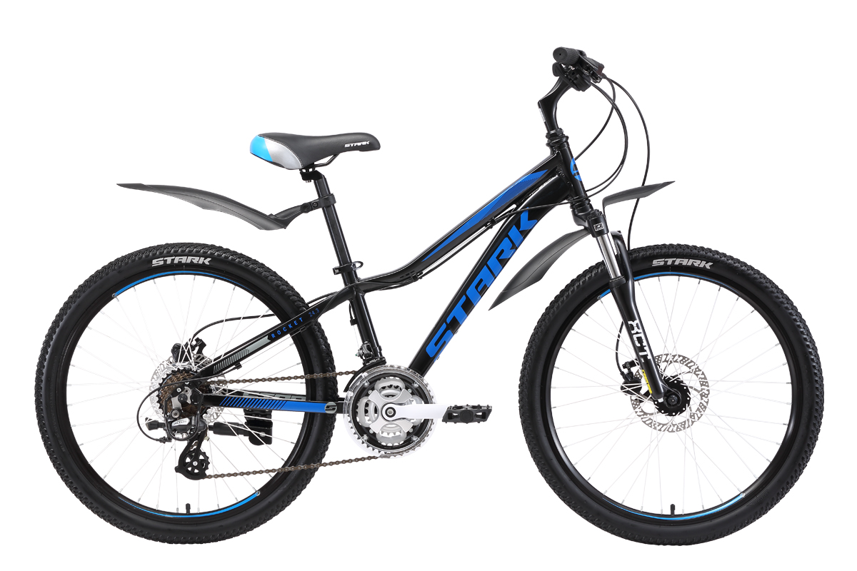 Велосипед Stark Rocket 24.3 HD 2018 чёрный-голубой-серый one size