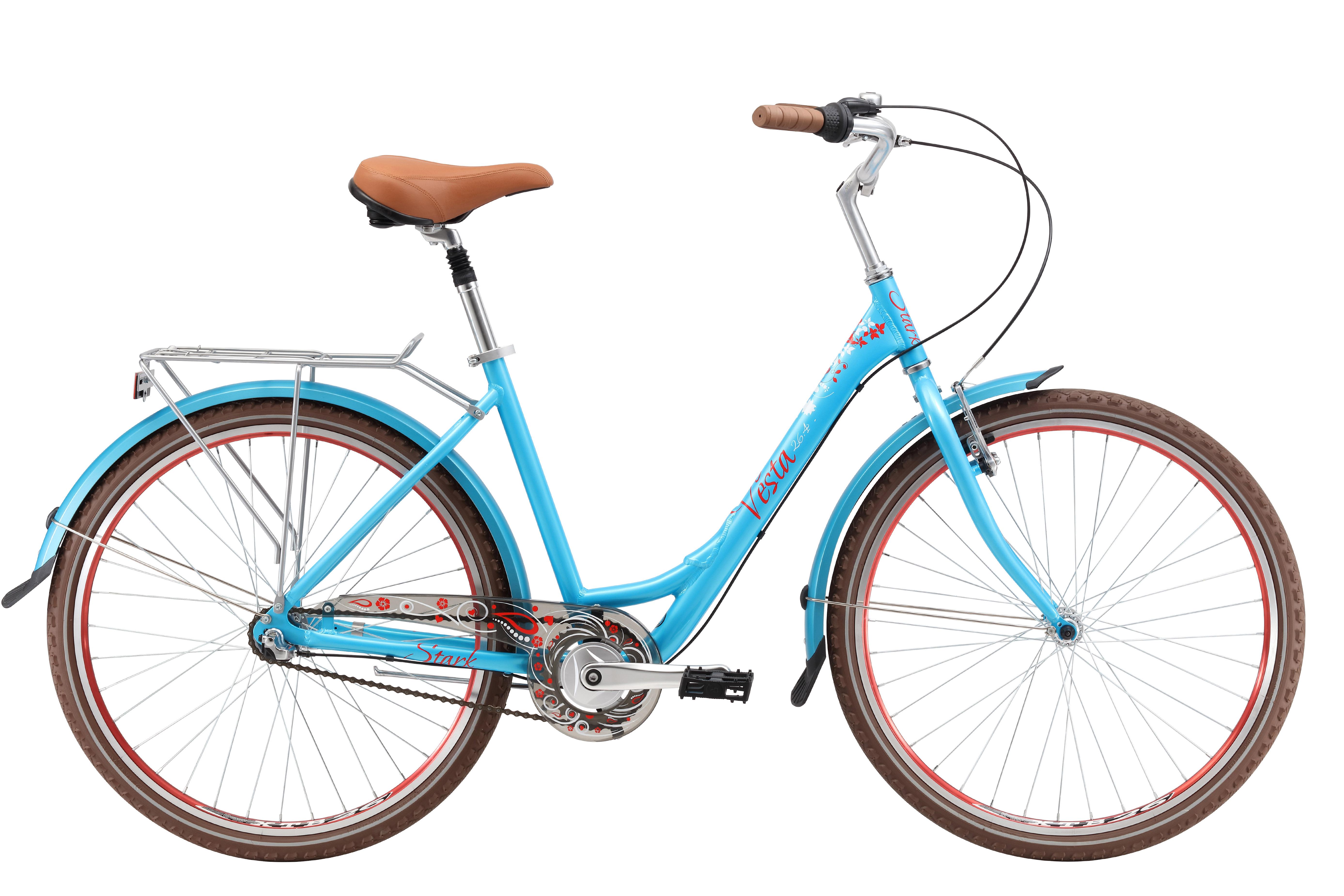 Велосипед Stark Vesta 26.4 V (2017) сине-красный 16КОМФОРТНЫЕ<br>Городской женский велосипед Stark Vesta имеет лаконичный и стильный дизайн. Главной особенностью этой модели является планетарная втулка, которая очень удобна в эксплуатации, ведь система переключения передач скрыта внутри задней втулки Shimano Nexus, благодаря чему вы можете долгое время не заботиться о смазке и чистке трансмиссии, а также, не переживать о поломке заднего переключателя. Помимо этого интересной особенностью стало наличие двух типов тормозов: ободного V-brake бренда Promax и заднего ножного тормоза - Coaster brake. Колеса велосипеда имеют диаметр 26 дюймов и обеспечивают хороший накат, а амортизационный подседельный штырь, сделает вашу поездку максимально комфортной. Широкий руль, который снабжён удобными накладками-грипсами, обеспечит идеальное управление велосипедом и безопасность.<br><br>бренд: STARK<br>год: 2017<br>рама: Алюминий (Alloy)<br>вилка: Жесткая (сталь)<br>блокировка амортизатора: Нет<br>диаметр колес: 26<br>тормоза: Ножной ( Coaster brake)<br>уровень оборудования: Начальный<br>количество скоростей: 3<br>Цвет: сине-красный<br>Размер: 16