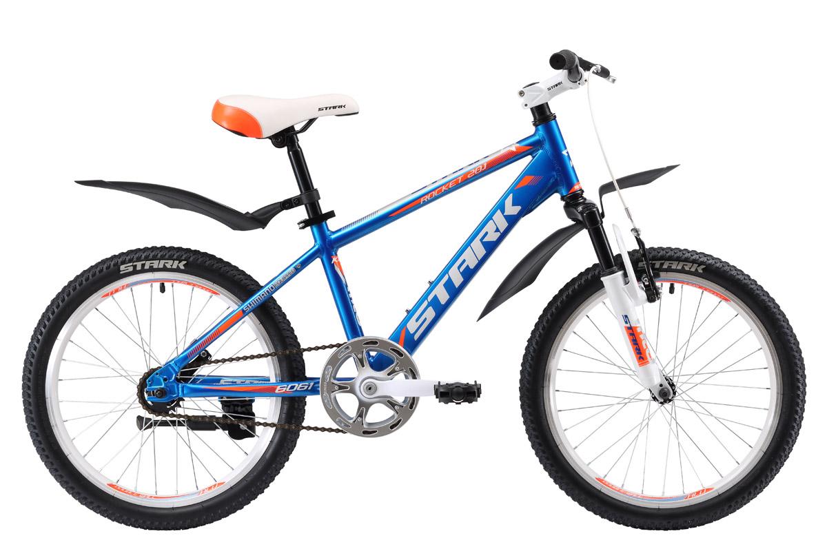 Велосипед Stark Rocket 20.1 S (2017) сине-оранжевый one sizeОТ 6 ДО 9 ЛЕТ (20 ДЮЙМОВ)<br>Stark Rocket 20.1 S - яркий детский велосипед, который наверняка понравится юным велосипедистам 5 -7 лет. Стильный дизайн и универсальная геометрия рамы подойдут как девочкам, так и мальчикам. Алюминиевая рама обладает такими свойствами, как прочность и малый вес, что очень важно для хороших велопрогулок. Мягкая амортизационная вилка легко отрабатывает неровности дороги и снимает лишнюю нагрузку с рук. Передний ободной тормоз типа V-Brake, в паре с задним ножным тормозом, помогают контролировать скорость и обеспечивают эффективное торможение.<br><br>бренд: STARK<br>год: 2017<br>рама: Алюминий (Alloy)<br>вилка: Амортизационная (пружина)<br>блокировка амортизатора: Нет<br>диаметр колес: 20<br>тормоза: Ножной ( Coaster brake)<br>уровень оборудования: Начальный<br>количество скоростей: 1<br>Цвет: сине-оранжевый<br>Размер: one size