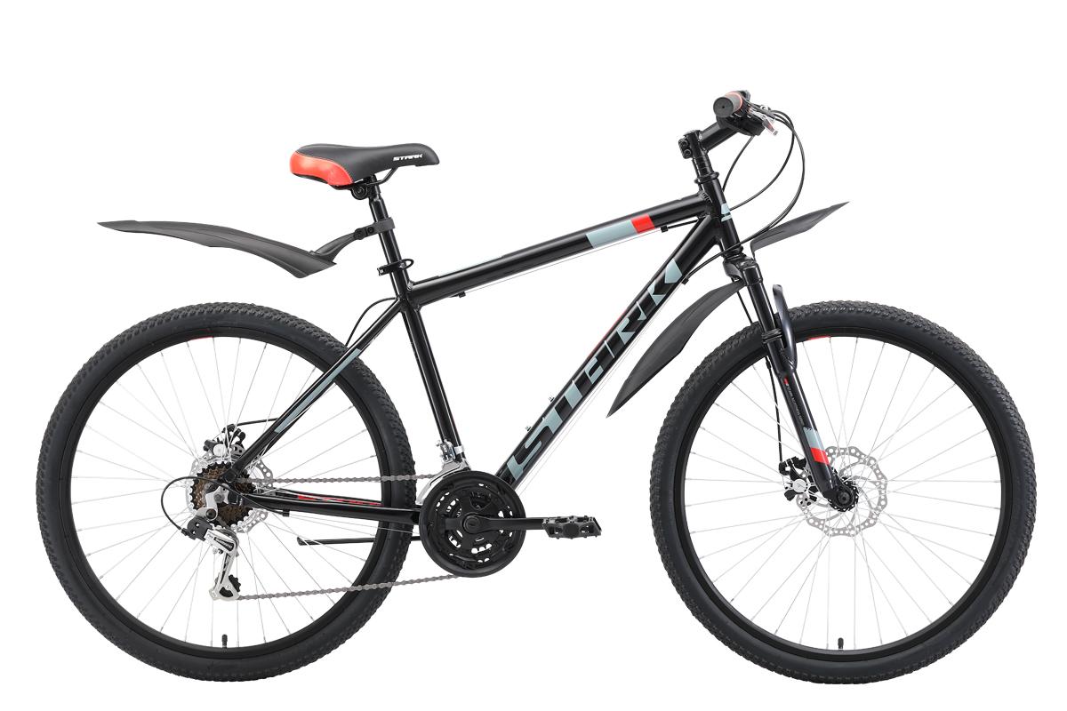 """Велосипед Stark Outpost 26.1 D (2019) чёрный/серый/красный 18"""""""