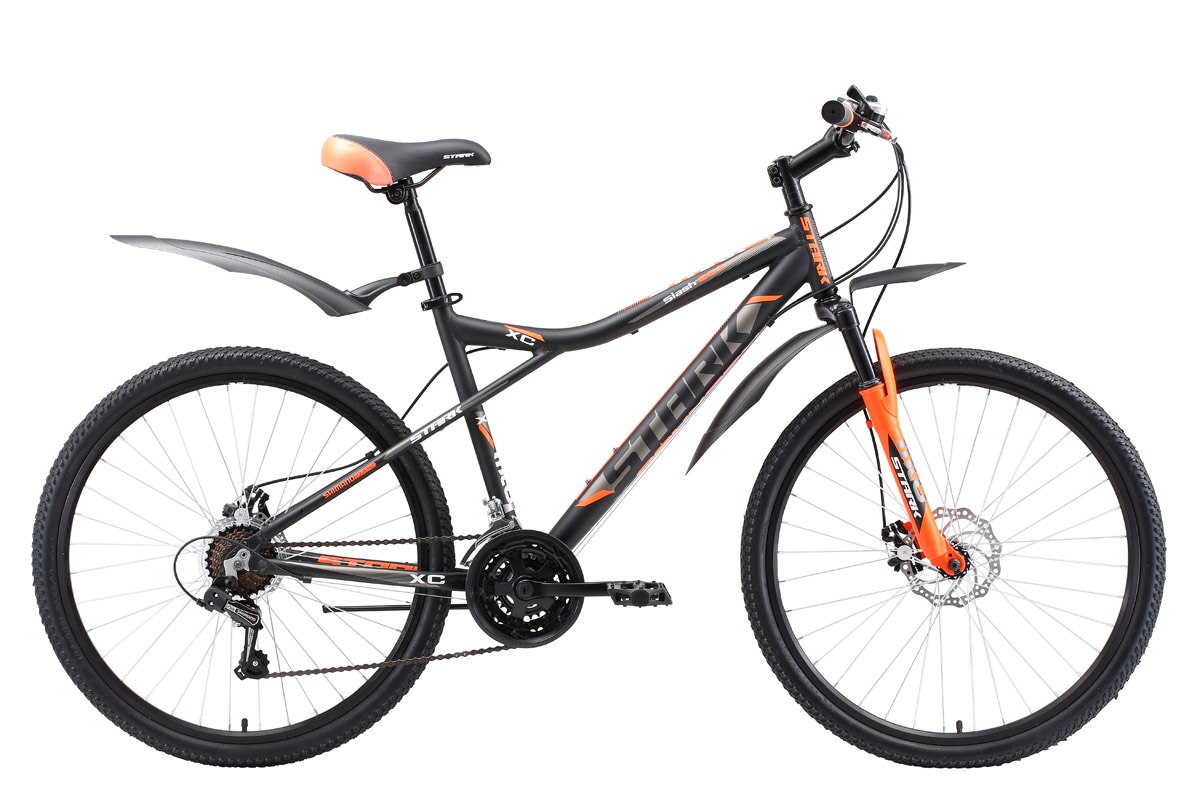 Велосипед Stark Slash 26.1 D (2017) оранжево-синий 18ОТ 9 ДО 13 ЛЕТ (24-26 ДЮЙМОВ)<br>Недорогой горный велосипед, оснащённый дисковыми механическими тормозами, которые надёжны и устойчивы к загрязнениям. Велосипед имеет жёсткую алюминиевую раму и мягкую амортизационную вилку. А так же обода Alloy double wall с двойной стенкой, для большей прочности. Модель 2017 года оборудована новой 21-скоростной трансмиссией, триггерными монетками SHIMANO. Помимо этого производитель добавил кольцо под вынос 10мм, благодаря этому, руль может устанавливаться выше. Изменения так же коснулись цепи и кассеты. Данная модель прекрасно подходит для езды по дорогам и пересечённой местности.<br><br>бренд: STARK<br>год: 2017<br>рама: Алюминий (Alloy)<br>вилка: Амортизационная (пружина)<br>блокировка амортизатора: None<br>диаметр колес: 26<br>тормоза: Дисковые механические<br>уровень оборудования: Начальный<br>количество скоростей: 21<br>Цвет: оранжево-синий<br>Размер: 18