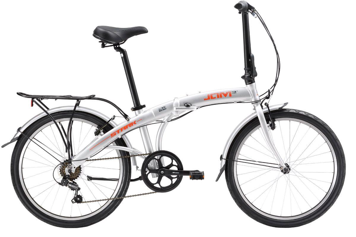 Велосипед Stark Jam 24.1 V (2017) серебристо-красный one sizeГОРОДСКИЕ СКЛАДНЫЕ<br>Складной велосипед с колесами 24 дюйма прекрасно подойдет для поездок по городу и за его пределами. Благодаря увеличенным колесам, он хорошо преодолевает неровности на дороге. Велосипед для взрослых Stark Jam 24.1 V оборудован шестью передачами, которые позволят вам уверенно перемещаться по городу, а также эффективными ободными тормозами типа V-brake. Лёгкая алюминиевая рама, удобная система сборки велосипеда, компактный багажник, подножка и крылья делают этот велосипед удобным в эксплуатации. В обновленной модели 2017 года установлен сквозной подседельный штырь, проходящий через кареточный узел, изменена геометрия выноса руля, а также механизмы складывания. Благодаря этим изменениям велосипед стал еще удобнее и надежнее.<br><br>бренд: STARK<br>год: 2017<br>рама: Алюминий (Alloy)<br>вилка: Жесткая (сталь)<br>блокировка амортизатора: None<br>диаметр колес: 24<br>тормоза: Ободные (V-brake)<br>уровень оборудования: Любительский<br>количество скоростей: 6<br>Цвет: серебристо-красный<br>Размер: one size