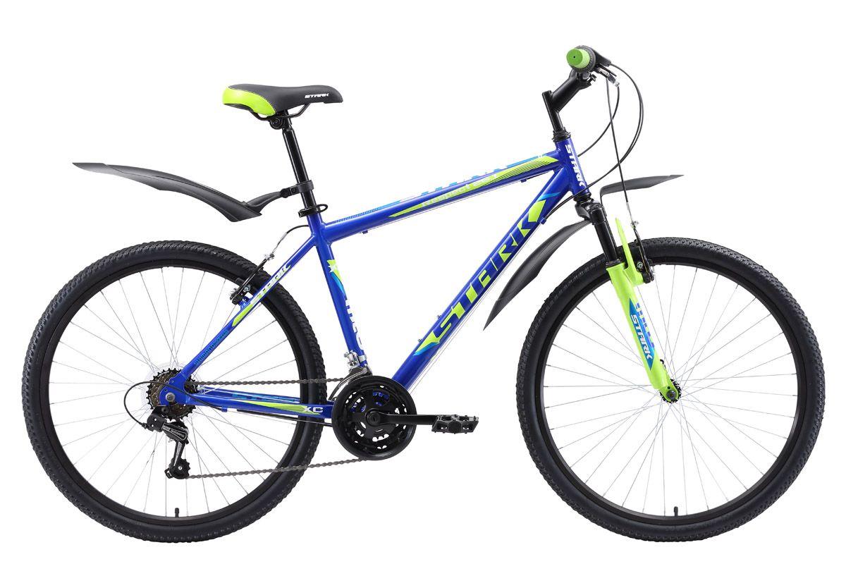 Велосипед Stark Respect 26.1 V (2018) синий/зелёный/голубой 20КОЛЕСА 26 (СТАНДАРТ)<br>Популярная модель горного велосипеда в линейке бренда Stark. Велосипед оснащён лёгкой алюминиевой рамой и мягкой амортизационной вилкой. Руль имеет регулируемый по высоте вынос, который позволяет настраивать высоту установки руля. Данная модель оснащена ободными тормозами типа V-brake, и 18-ти скоростной трансмиссией. Удобное седло, широкие педали, устойчивая подножка и велосипедные крылья делают прогулку еще приятнее.<br><br>бренд: STARK<br>год: 2018<br>рама: Алюминий (Alloy)<br>вилка: Амортизационная (пружина)<br>блокировка амортизатора: Нет<br>диаметр колес: 26<br>тормоза: Ободные (V-brake)<br>уровень оборудования: Начальный<br>количество скоростей: 18<br>Цвет: синий/зелёный/голубой<br>Размер: 20