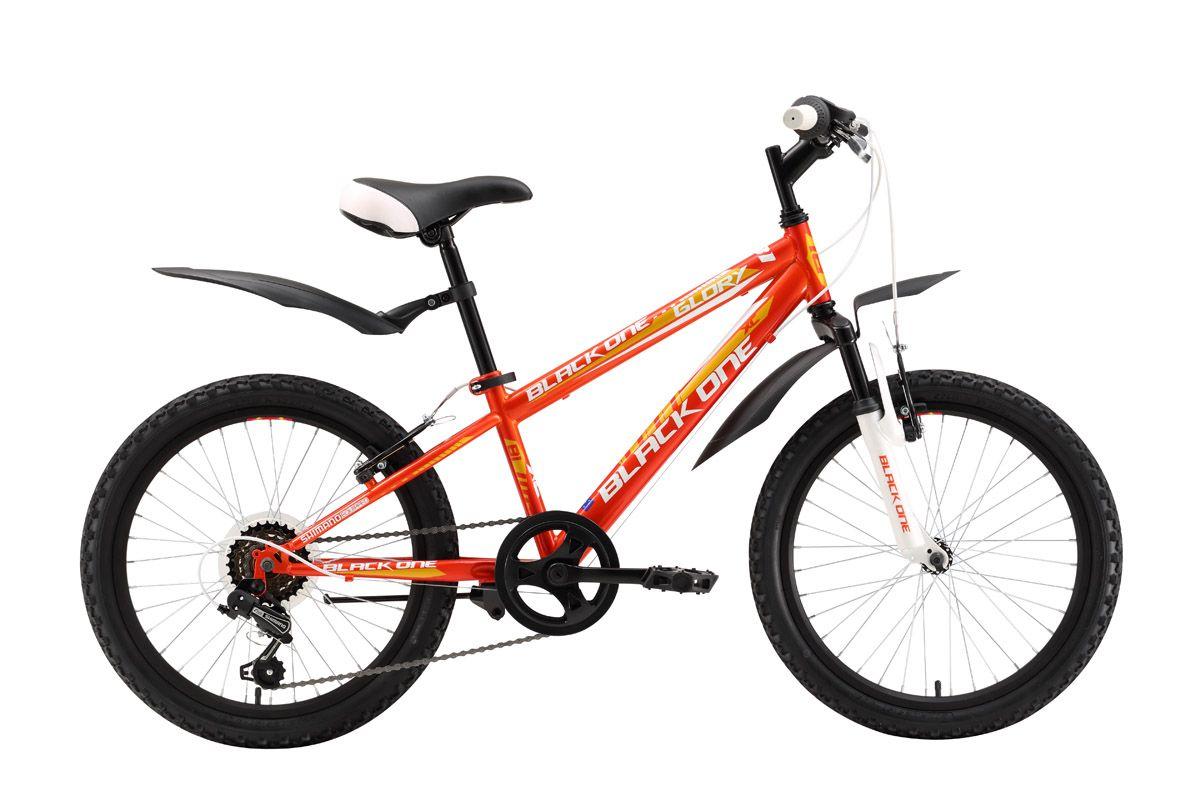 Велосипед Black One Glory 20 (2016) оранжево-желтый 13ОТ 6 ДО 9 ЛЕТ (20 ДЮЙМОВ)<br>Велосипед для девочек от 6 до 8 лет Black One Glory, имеет два варианта дизайна: основной цвет белый и основной цвет оранжевый. Стальная рама и колёса имеют размеры, оптимальные для роста ребёнка ростом от 115 до 127 см. Колёса оборудованы крепкими двойными ободами и крепятся эксцентриком в вилку велосипеда, что облегчает погрузку велосипеда в машину. Детский велосипед имеет 6 передач, с помощью которых ребёнок может выбрать оптимальную нагрузку при катании. Эффективное торможение обеспечивают надёжные и простые ободные тормоза V-brake. Удобные крылья надёжно защищают от грязи, а подножка позволяет аккуратно припарковать велосипед.<br><br>бренд: BLACK ONE<br>год: 2016<br>рама: Сталь (Hi-Ten)<br>вилка: Амортизационная (пружина)<br>блокировка амортизатора: None<br>диаметр колес: 20<br>тормоза: Ободные (V-brake)<br>уровень оборудования: Начальный<br>количество скоростей: 6<br>Цвет: оранжево-желтый<br>Размер: 13
