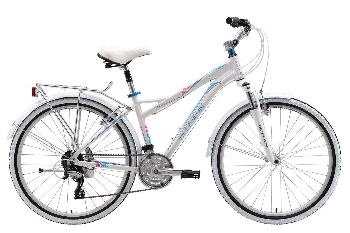 Велосипед Stark Ibiza 26.3 V (2017) бело-розовый 18КОМФОРТНЫЕ<br>Яркий, красивый, комфортный женский велосипед Stark Ibiza создан для приятных прогулок по городским улочкам и паркам. Главной особенностью этой модели является 24-х скоростная трансмиссия, с использованием комплектующих Shimano Acera. Велосипед оснащён лёгкой, но прочной алюминиевой рамой и ободными тормозами типа V-brake. 26 дюймовые колеса и покрышки Kenda с мелким дорожным протектором обеспечивают быстрый накат и хорошее сцепление с дорогой. Мягкое седло, регулируемый вынос руля и амортизированный подседельный штырь, обеспечат комфорт во время всей поездки.<br><br>бренд: STARK<br>год: 2017<br>рама: Алюминий (Alloy)<br>вилка: Амортизационная (пружина)<br>блокировка амортизатора: Нет<br>диаметр колес: 26<br>тормоза: Ободные (V-brake)<br>уровень оборудования: Любительский<br>количество скоростей: 24<br>Цвет: бело-розовый<br>Размер: 18