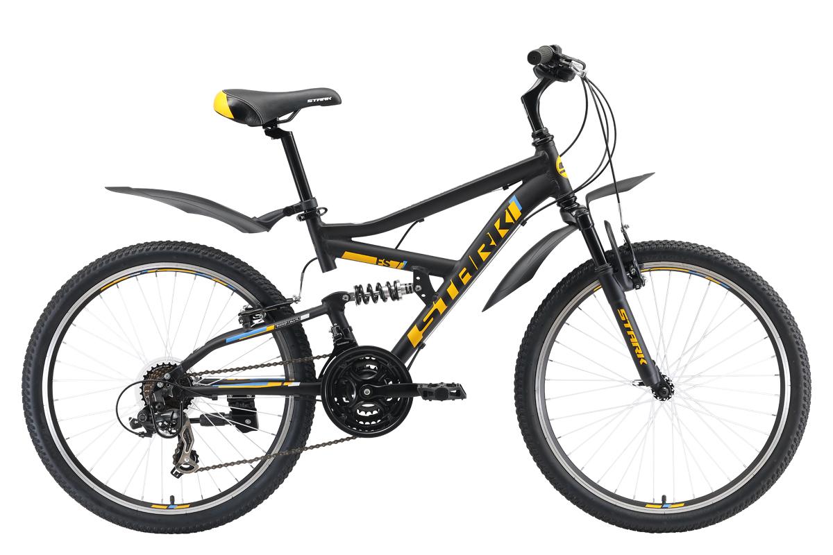 Велосипед Stark Rocket 24.2 FS V 2019 чёрный-оранжевый-голубой one size