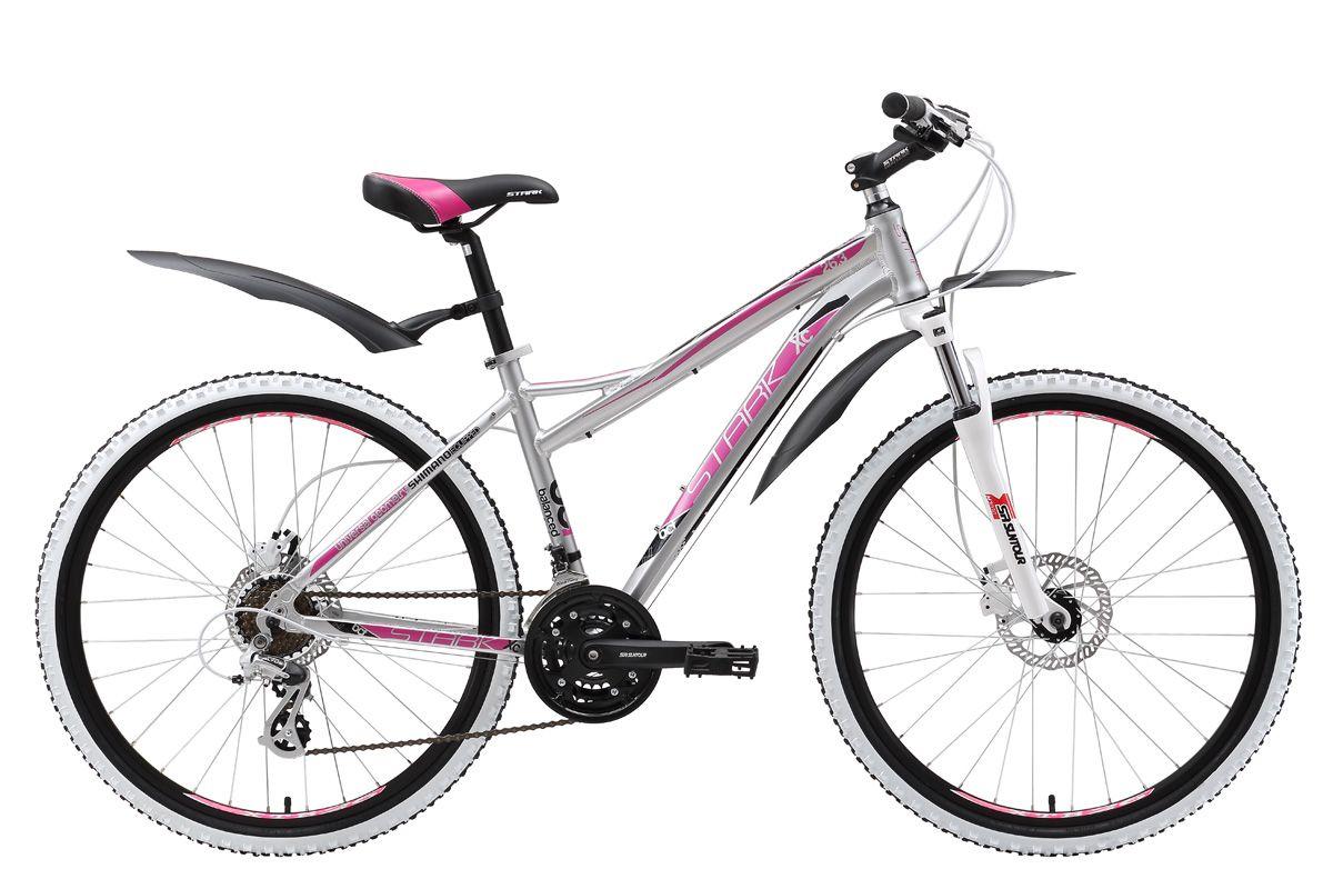 Велосипед Stark Ultra 26.3 HD (2017) серебристо-розовый 16СПОРТИВНЫЕ<br>Горный велосипед Ultra 26.3 HD отлично подходит активным девушкам, которые не привыкли проводить свои выходные дома. Велосипед оборудован алюминиевой рамой, обладающей высокой прочностью при малом весе, и трансмиссией, которая имеет 21 скорость. Вилка Suntour, установленная на этой модели, с лёгкостью поможет преодолеть сложные участки бездорожья. Плавное и эффективное торможение обеспечивают гидравлические дисковые тормоза Tektro. Расцветка рамы и цветовое решение покрышек Kenda, как нельзя лучше подходят для горного женского велосипеда. Этот велосипед предназначен, как для неторопливых прогулок в парке, так и для занятий фитнесом.<br><br>бренд: STARK<br>год: 2017<br>рама: Алюминий (Alloy)<br>вилка: Амортизационная (пружина)<br>блокировка амортизатора: Да<br>диаметр колес: 26<br>тормоза: Дисковые гидравлические<br>уровень оборудования: Начальный<br>количество скоростей: 21<br>Цвет: серебристо-розовый<br>Размер: 16