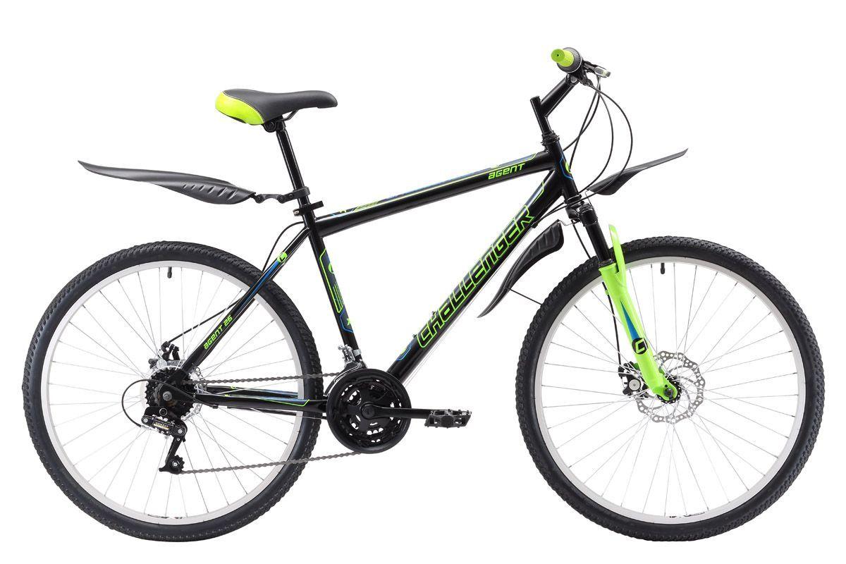 """Велосипед Challenger Agent 26 D (2018) чёрный/зелёный/голубой 18"""""""