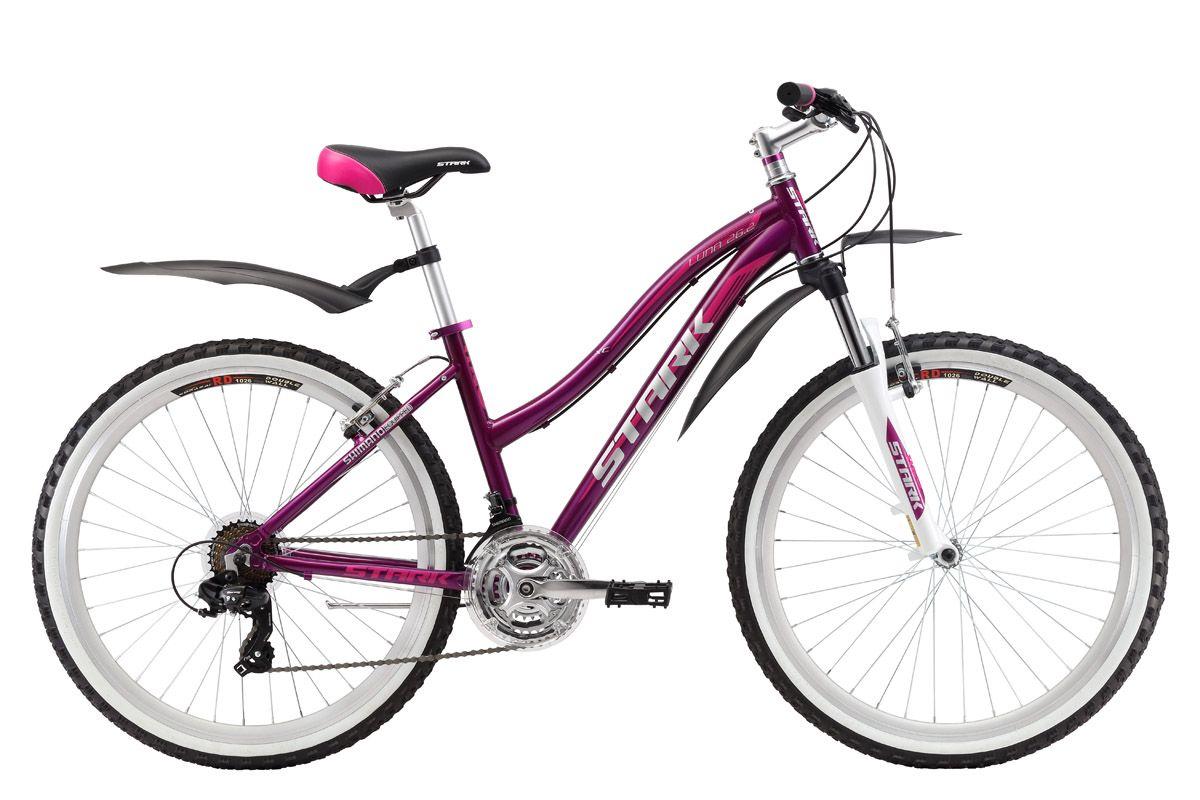 Велосипед Stark Luna 26.2 V (2017) фиолетово-розовый 16СПОРТИВНЫЕ<br>Стильный и надёжный женский велосипед Stark Luna 26.2 V создан для прогулок в парке и за городом. Алюминиевая рама этого горного велосипеда, обладает малым весом и хорошей прочностью. Передняя амортизационная вилка, имеющая блокировку и preload, снимет часть нагрузки с рук, а preload поможет подобрать необходимую жёсткость. Данная модель оборудована трансмиссией, которая имеет 21 передачу и тормозами типа V-brake. Качественное навесное оборудование, известного бренда SHIMANO, не подведёт вас даже в плохих погодных условиях и будет исправно работать долгие годы. Большие колеса позволят быстро набирать хорошую скорость и дольше удерживать ее без дополнительных усилий.<br><br>бренд: STARK<br>год: 2017<br>рама: Алюминий (Alloy)<br>вилка: Амортизационная (пружина)<br>блокировка амортизатора: Да<br>диаметр колес: 26<br>тормоза: Ободные (V-brake)<br>уровень оборудования: Начальный<br>количество скоростей: 21<br>Цвет: фиолетово-розовый<br>Размер: 16
