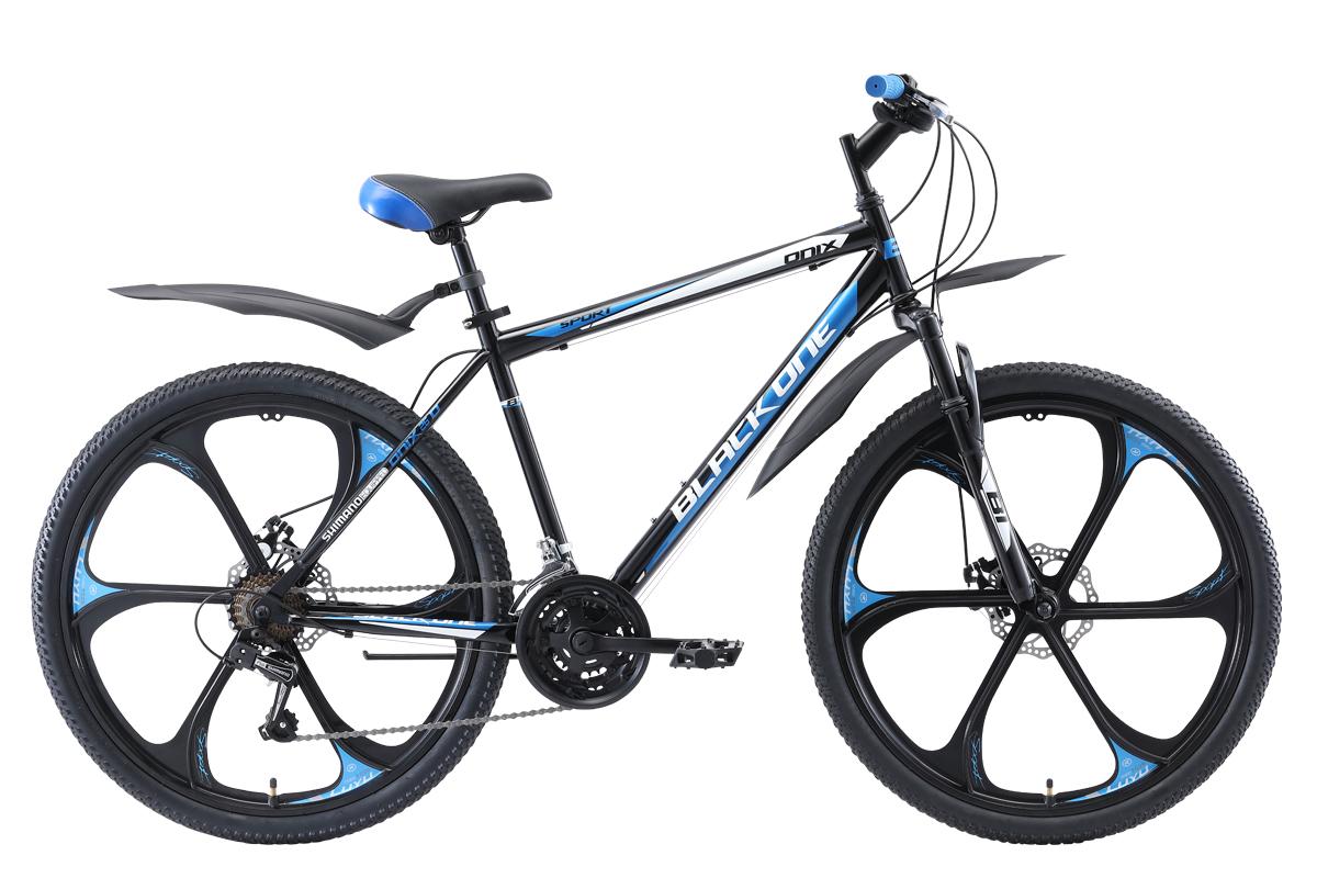 Велосипед Black One Onix 26 D FW 2019 чёрный-голубой-серебристый 18 д