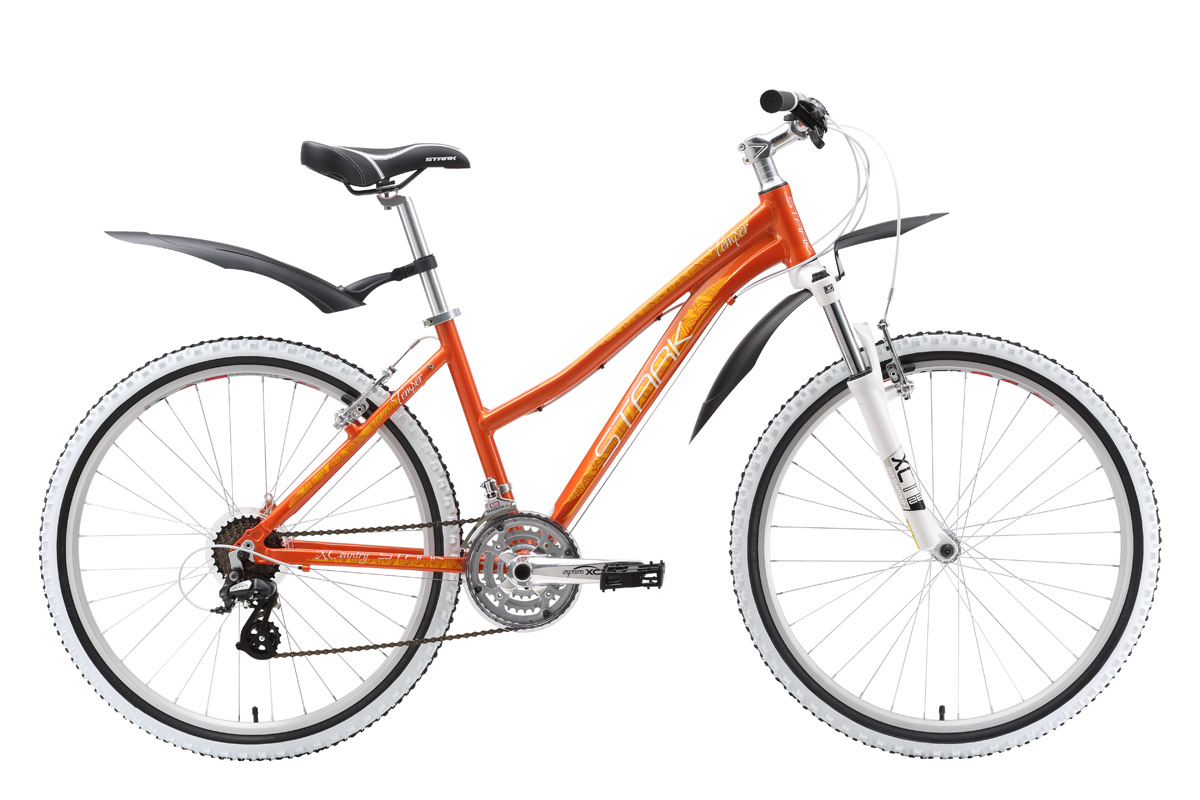 Велосипед Stark Temper Lady (2016) красно-оранжевый 16СПОРТИВНЫЕ<br>Прогулки на женском горном велосипеде Stark Temper Lady запомнятся его хозяйке, только яркими, положительными эмоциями. Яркий дизайн формирует жизнерадостное настроение и желание проехать, как можно больше километров. Тем более, что технические возможности этого горного велосипеда позволяют чувствовать себя уверенно на дороге. Мягкая передняя вилка фирмы Suntour и покрышки Kenda, установленные на двойных алюминиевых ободах обеспечивают хороший контакт с дорожным покрытием, а оборудование Shimano Altus послушно выберет необходимую передачу. Лужи после дождя и грязные лесные тропинки не испугают вас, ведь велосипед оснащён надёжными крыльями, которые защитят от воды и грязи. В 2016 году женский горный велосипед Stark Temper Lady получил незначительные изменения в комплектации.<br><br>бренд: STARK<br>год: 2016<br>рама: Алюминий (Alloy)<br>вилка: Амортизационная (пружина)<br>блокировка амортизатора: Нет<br>диаметр колес: 26<br>тормоза: Ободные (V-brake)<br>уровень оборудования: Начальный<br>количество скоростей: 21<br>Цвет: красно-оранжевый<br>Размер: 16