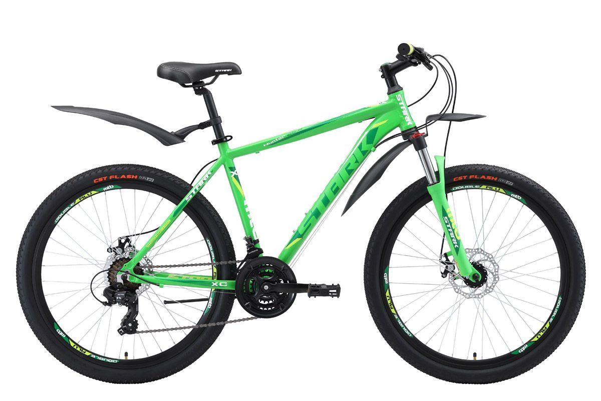 Велосипед Stark Hunter 26.2 D (2018) зелёный/тёмно-зелёный/белый 18КОЛЕСА 26 (СТАНДАРТ)<br>Горный велосипед Stark Hunter 26.2 D имеет яркий дизайн и хорошие технические характеристики. В основе велосипеда - лёгкая алюминиевая рама, позволяющая хорошо маневрировать и набирать скорость. Амортизационная вилка имеет блокировку и возможность настройки предварительной нагрузки. Велосипед оснащён навесным оборудование Shimano, трансмиссией на 21 скорость и надёжными дисковыми тормозами. Велосипед Stark Hunter 26.2 D хорошо подходит для катания, как в городе, так и за его пределами.<br><br>бренд: STARK<br>год: 2018<br>рама: Алюминий (Alloy)<br>вилка: Амортизационная (пружина)<br>блокировка амортизатора: Да<br>диаметр колес: 26<br>тормоза: Дисковые механические<br>уровень оборудования: Начальный<br>количество скоростей: 21<br>Цвет: зелёный/тёмно-зелёный/белый<br>Размер: 18