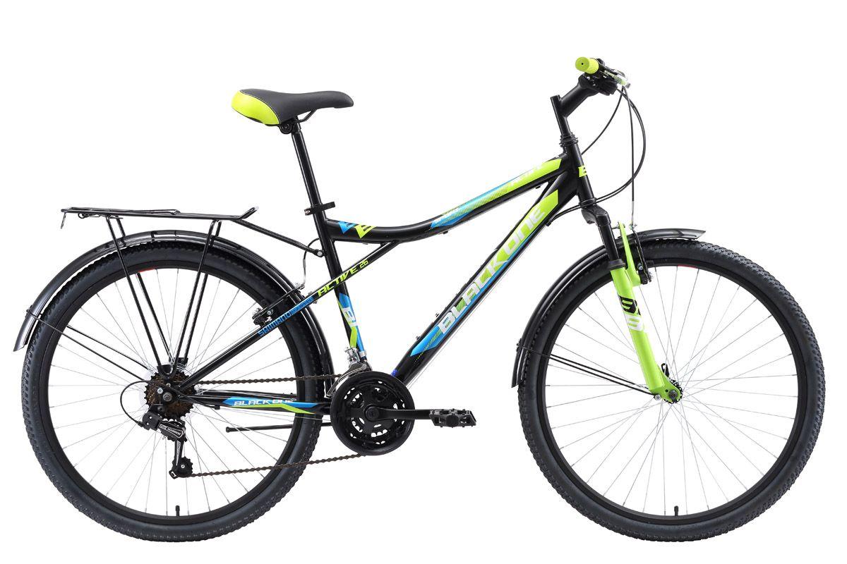 Велосипед Black One Active 26 (2018) чёрный/зелёный/голубой 18