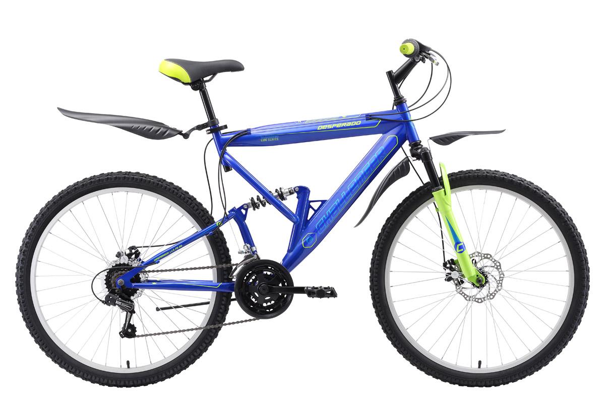 Велосипед Challenger Desperado Lux FS 26 D 2018 синий-зелёный-голубой 18 д