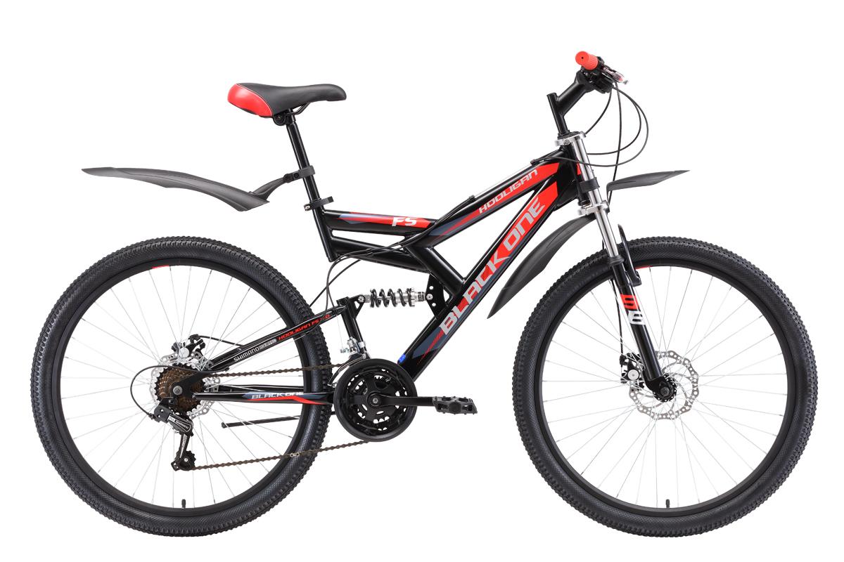 Велосипед Black One Hooligan FS 26 D 2018 чёрный-красный-серебристый 20 д