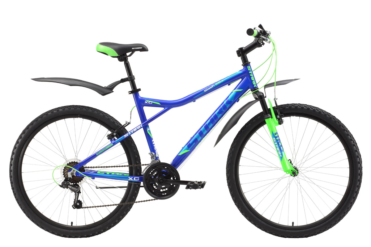 Велосипед Stark Slash 26.1 V (2017) оранжево-синий 16ОТ 9 ДО 13 ЛЕТ (24-26 ДЮЙМОВ)<br>Горный велосипед начального уровня, который прекрасно подходит для катания, как в городе, так и за его пределами. Велосипед имеет жёсткую алюминиевую раму устойчивую к коррозии, мягкую амортизационную вилку, надёжные ободные тормоза типа V-brake и двойные обода. Модель 2017 года оборудована новой 21-скоростной трансмиссией, триггерными монетками SHIMANO. Помимо этого производитель добавил кольцо под вынос 10мм, благодаря этому, руль может устанавливаться выше. Изменения так же коснулись цепи и кассеты.<br><br>бренд: STARK<br>год: 2017<br>рама: Алюминий (Alloy)<br>вилка: Амортизационная (пружина)<br>блокировка амортизатора: None<br>диаметр колес: 26<br>тормоза: Ободные (V-brake)<br>уровень оборудования: Начальный<br>количество скоростей: 21<br>Цвет: оранжево-синий<br>Размер: 16