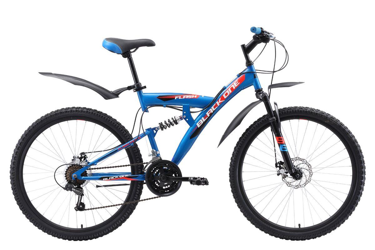 Велосипед Black One Flash FS 26 D 2018 чёрный-оранжевый-голубой 20 д