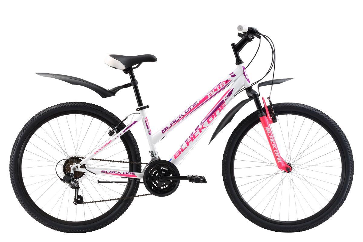 Велосипед Black One Alta 26 (2017) бело-розовый 16СПОРТИВНЫЕ<br>Горный женский велосипед на стальной раме Black One Alta подходит для проулок на природе и в городе. Велосипед оснащён 21 скоростной трансмиссией, переключение передач осуществляется курковыми переключателями. Ободные тормоза V-brake обеспечивают эффективное и своевременное торможение. Женский велосипед укомплектован комфортным седлом, надёжными крыльями и подножкой. Велосипед Black One Alta 26 доступен в трёх вариантах расцветок. Модельный ряд Black One Alta имеет модификацию с механическим дисковым тормозом – Black One Alta 26 D и модификацию – Black One Alta 26Alloy – на алюминиевой раме.<br><br>бренд: BLACK ONE<br>год: 2017<br>рама: Сталь (Hi-Ten)<br>вилка: Амортизационная (пружина)<br>блокировка амортизатора: Нет<br>диаметр колес: 26<br>тормоза: Ободные (V-brake)<br>уровень оборудования: Начальный<br>количество скоростей: 21<br>Цвет: бело-розовый<br>Размер: 16