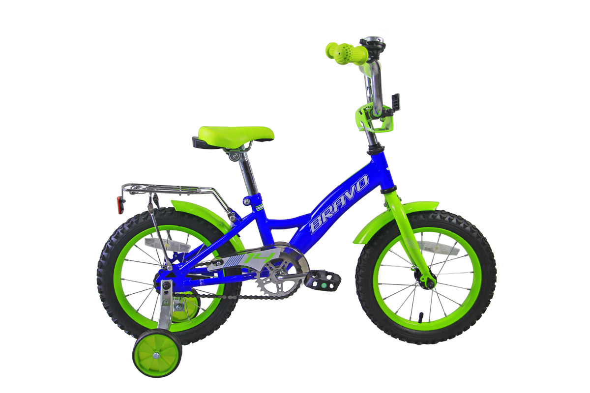 Велосипед Bravo 14 Boy (2018) голубой/зелёный/белый one size