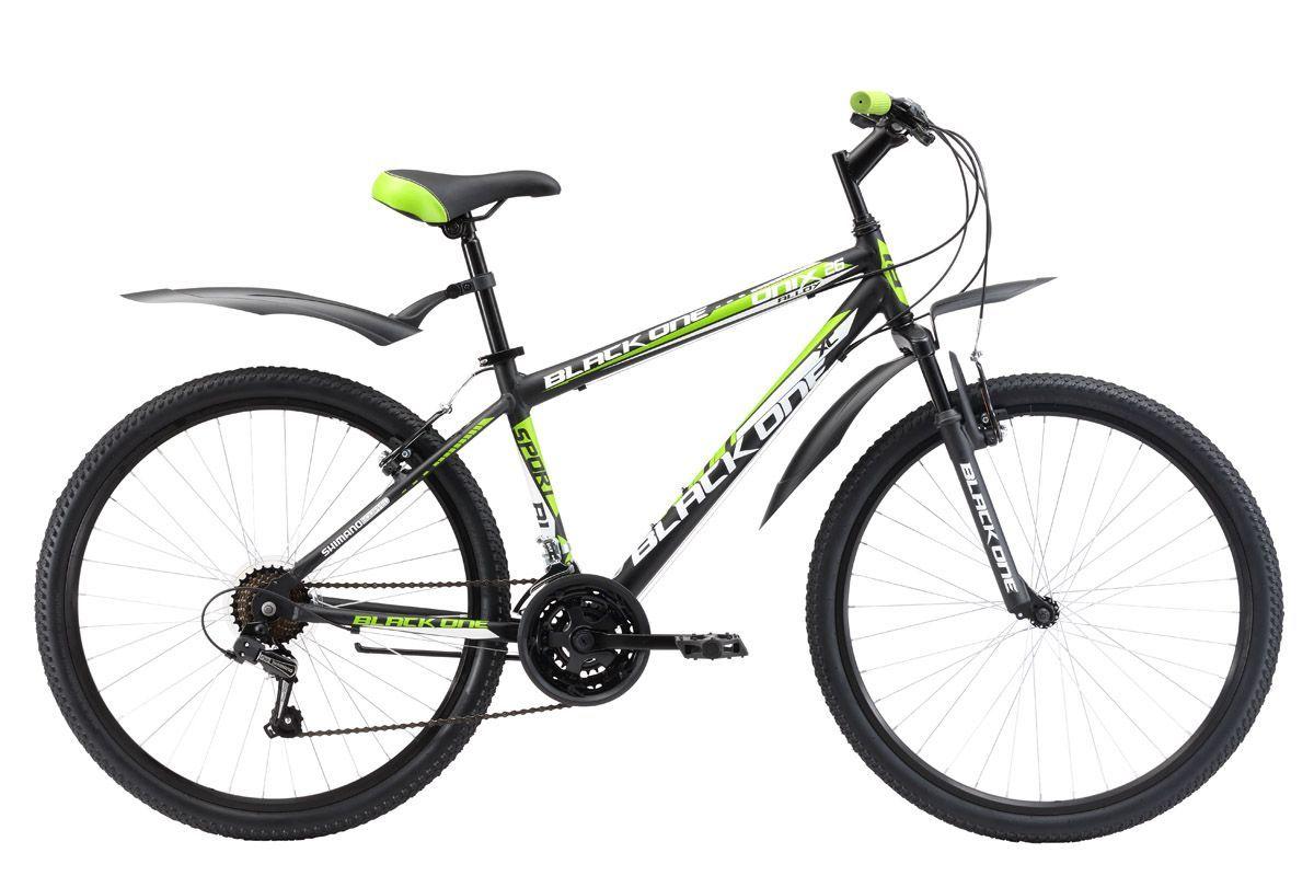 Велосипед Black One Onix 26 Alloy (2017) черно-зеленый 20КОЛЕСА 26 (СТАНДАРТ)<br>Классический горный велосипед Black One Onix 26 Alloy собран на алюминиевой раме, благодаря чему имеет меньший вес и хороший накат. Трансмиссия велосипеда имеет 21 скорость, что позволяет подобрать оптимальную нагрузку. Переключение выполняется с помощью курковых переключателей. Black One Onix 26 Alloy оборудован ободными тормозами типа V-brake, которые просты и надёжны в эксплуатации. Конструкция и комплектация велосипеда отлично подходят для прогулок в городе и на природе. Пластиковые крылья и подножка идут в комплекте с велосипедом. Black One Onix 26 Alloy – это горный велосипед на алюминиевой раме по выгодной цене.<br><br>бренд: BLACK ONE<br>год: 2017<br>рама: Алюминий (Alloy)<br>вилка: Амортизационная (пружина)<br>блокировка амортизатора: Нет<br>диаметр колес: 26<br>тормоза: Ободные (V-brake)<br>уровень оборудования: Начальный<br>количество скоростей: 21<br>Цвет: черно-зеленый<br>Размер: 20