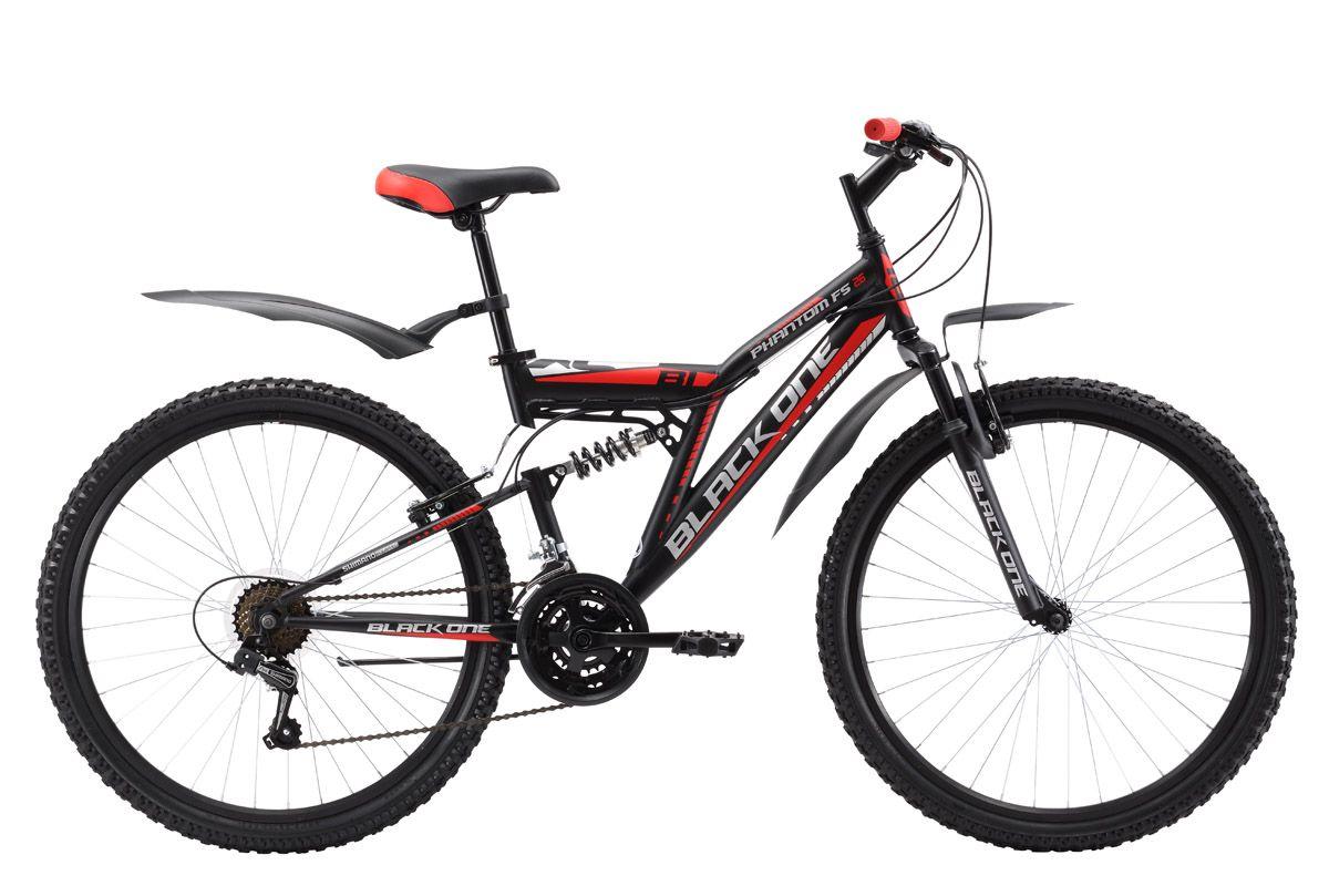 Велосипед Black One Phantom FS 26 (2017) черно-красный 18КОЛЕСА 26 (СТАНДАРТ)<br>Горный велосипед Black One Phantom FS 26, обладающий мощной стальной рамой и ободными тормозами, отлично подходит для разных типов дорог. Управление 21 скоростной трансмиссией выполняется при помощи курковых переключателей. Пластиковые крылья и подножка придают велосипеду наибольший комфорт. Для любителей погонять по грязным или снежным дорогам Black One предлагает варианты двухподвеса с механическим дисковым тормозом - Black One Phantom FS 26 D или Black One Descender FS 26 Alloy D с дисковыми тормозами на облегчённой алюминиевой раме.<br><br>бренд: BLACK ONE<br>год: 2017<br>рама: Сталь (Hi-Ten)<br>вилка: Амортизационная (пружина)<br>блокировка амортизатора: Нет<br>диаметр колес: 26<br>тормоза: Ободные (V-brake)<br>уровень оборудования: Начальный<br>количество скоростей: 18<br>Цвет: черно-красный<br>Размер: 18